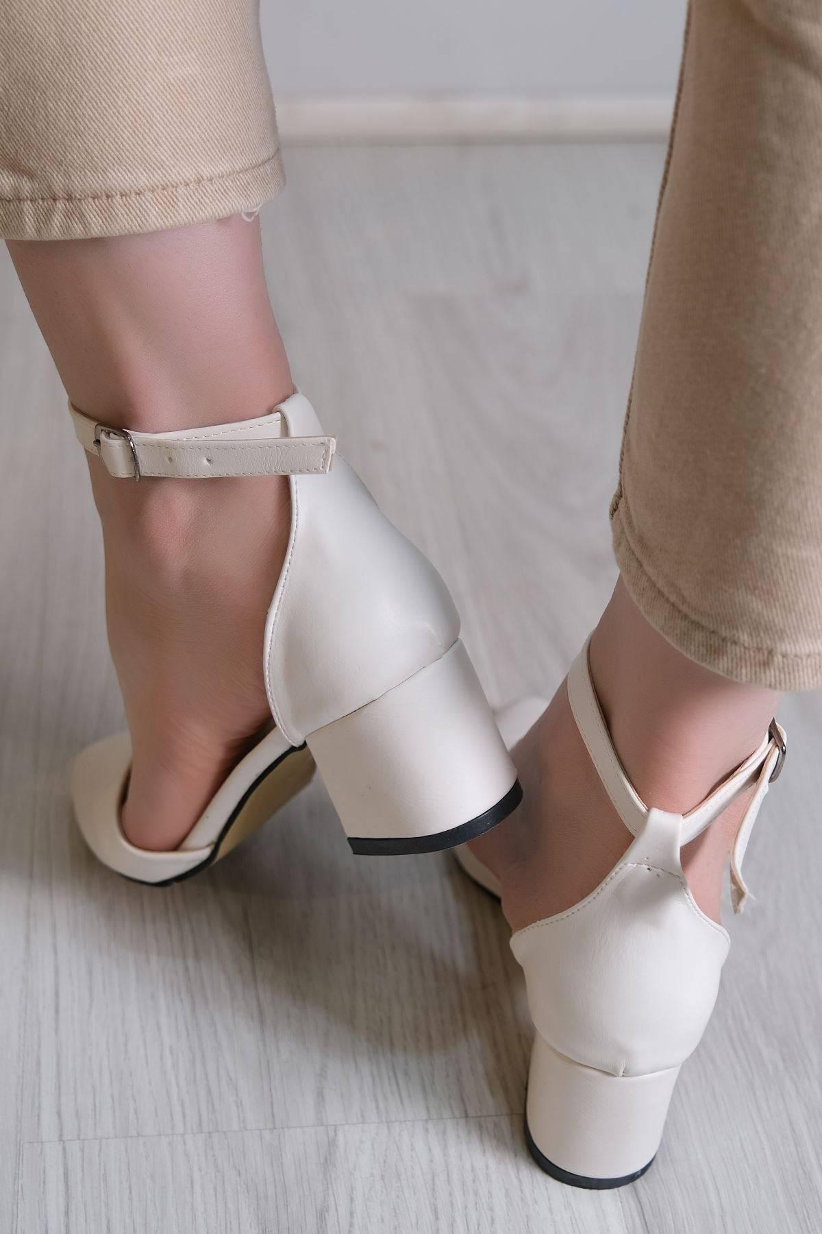 5 Cm Topuklu Ayakkabı Beyaz - 6114.264.