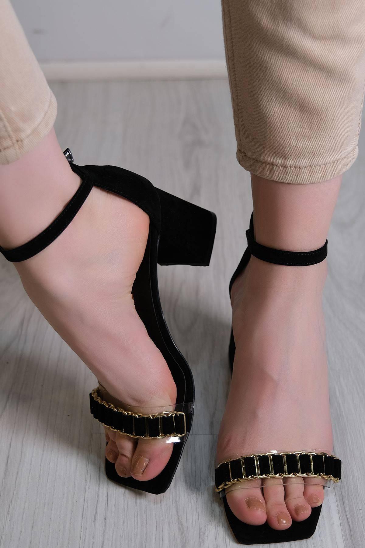 7 Cm Topuklu Ayakkabı Süetsiyah - 5576.264.