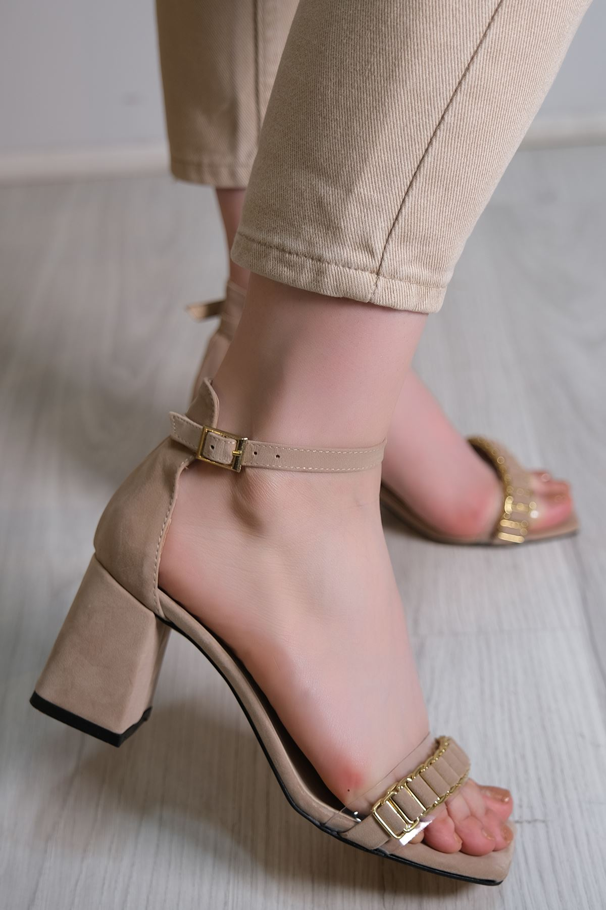7 Cm Topuklu Ayakkabı Süetbej - 5576.264.