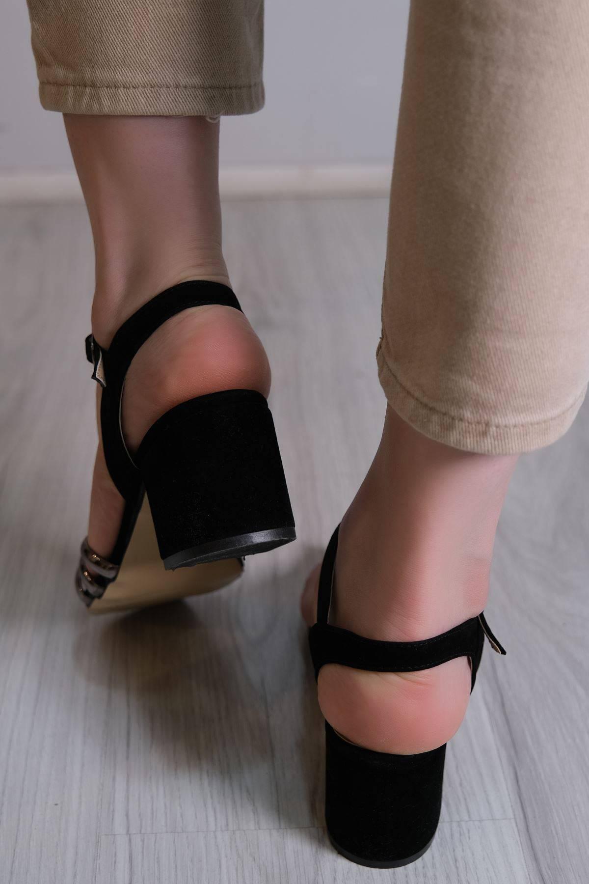 7 Cm Topuklu Ayakkabı Siyahplatin - 6119.264.
