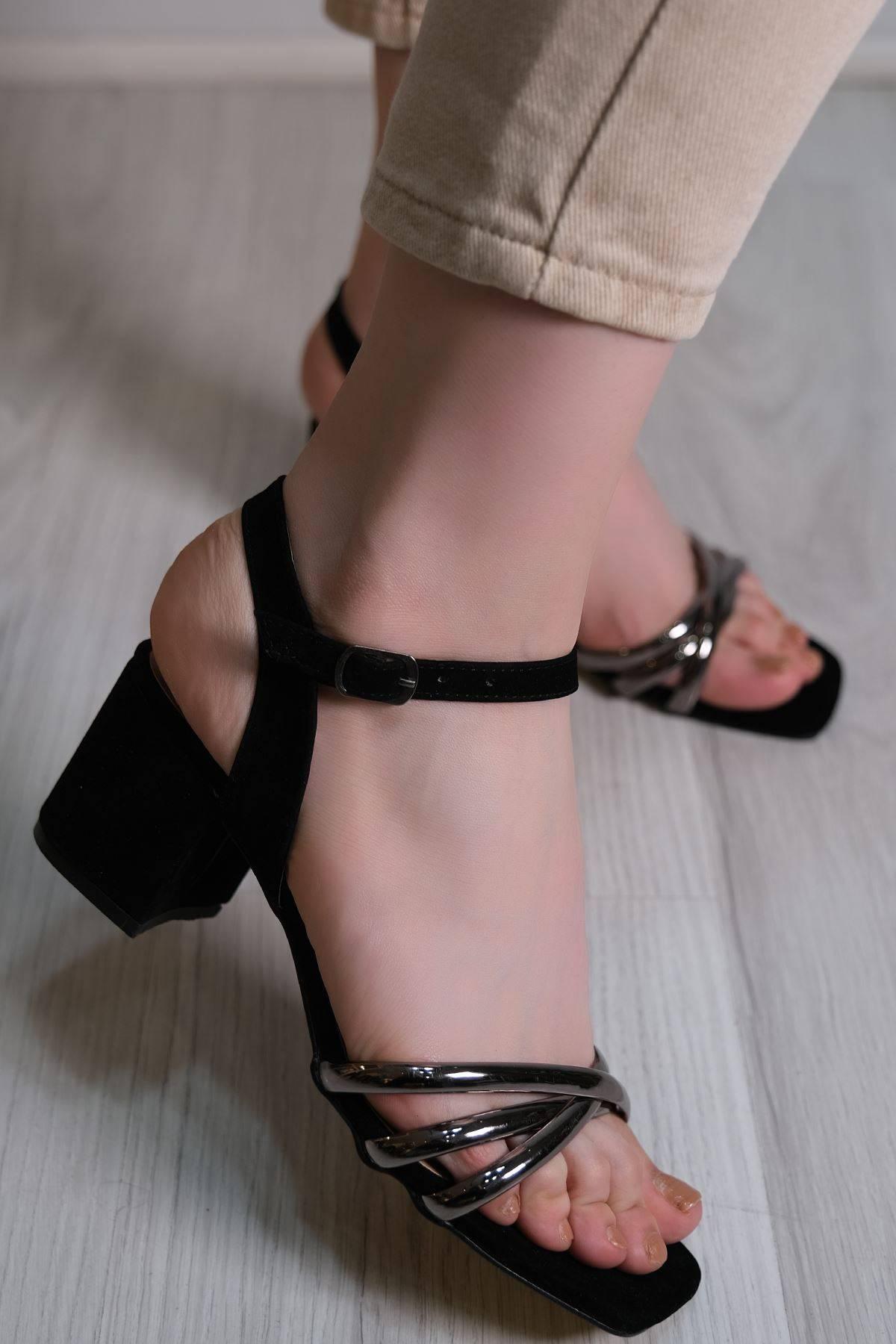 5 Cm Topuklu Ayakkabı Siyahplatin - 6120.264.