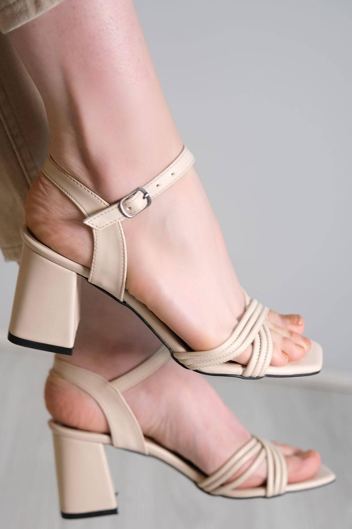 5 Cm Topuklu Ayakkabı Krem - 6122.264.