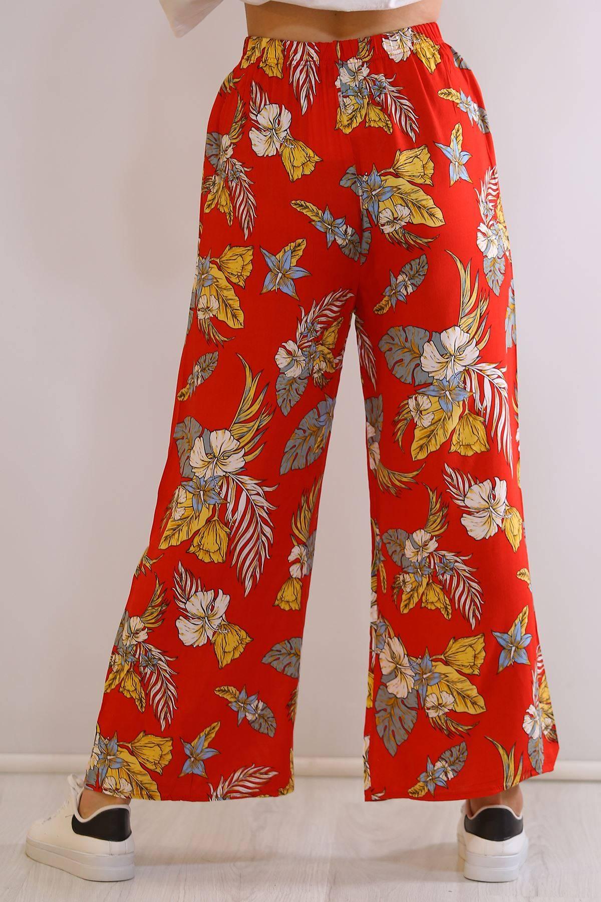 Dokuma Pantolon Kırmızıçiçekli - 1233.1095.