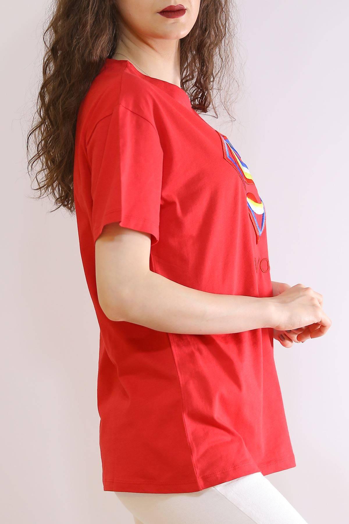 Nakış İşlemeli Tişört Kırmızı - 2975.169.