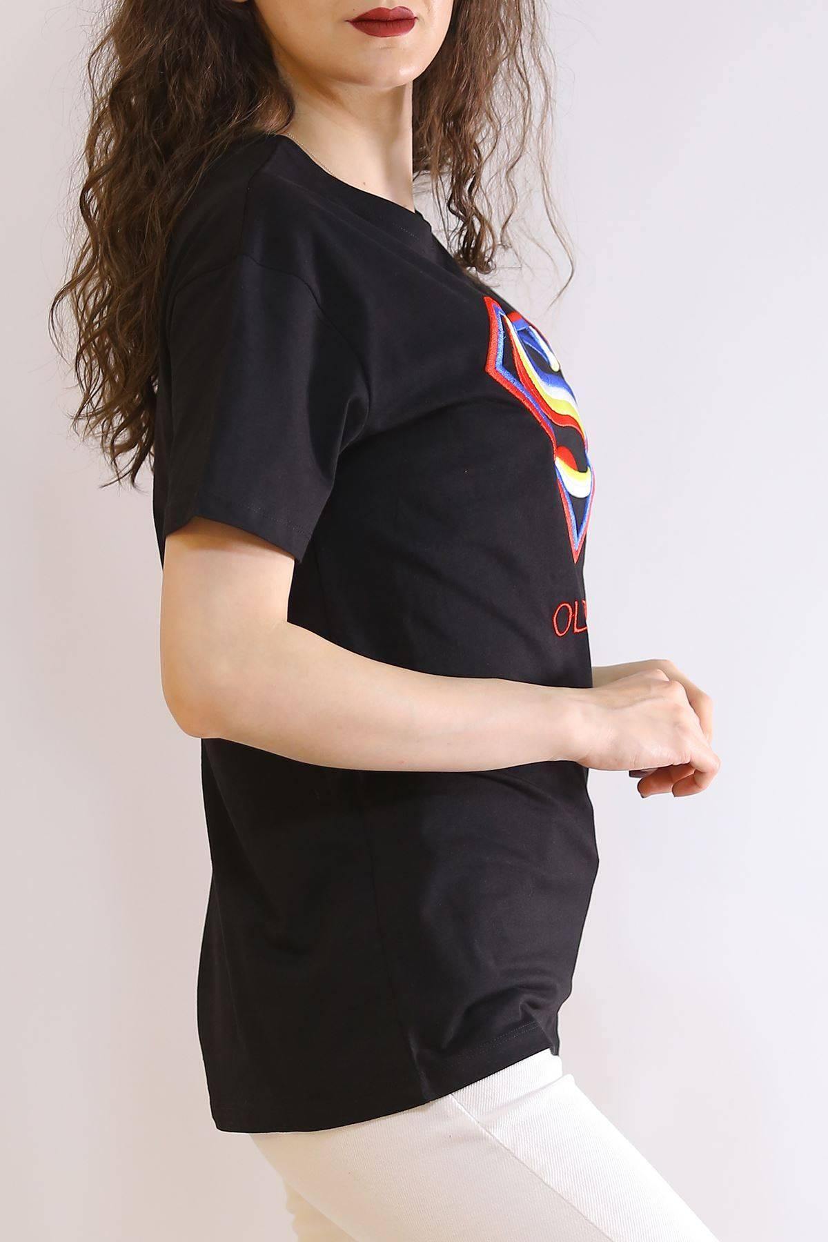 Nakış İşlemeli Tişört Siyah - 2975.169.