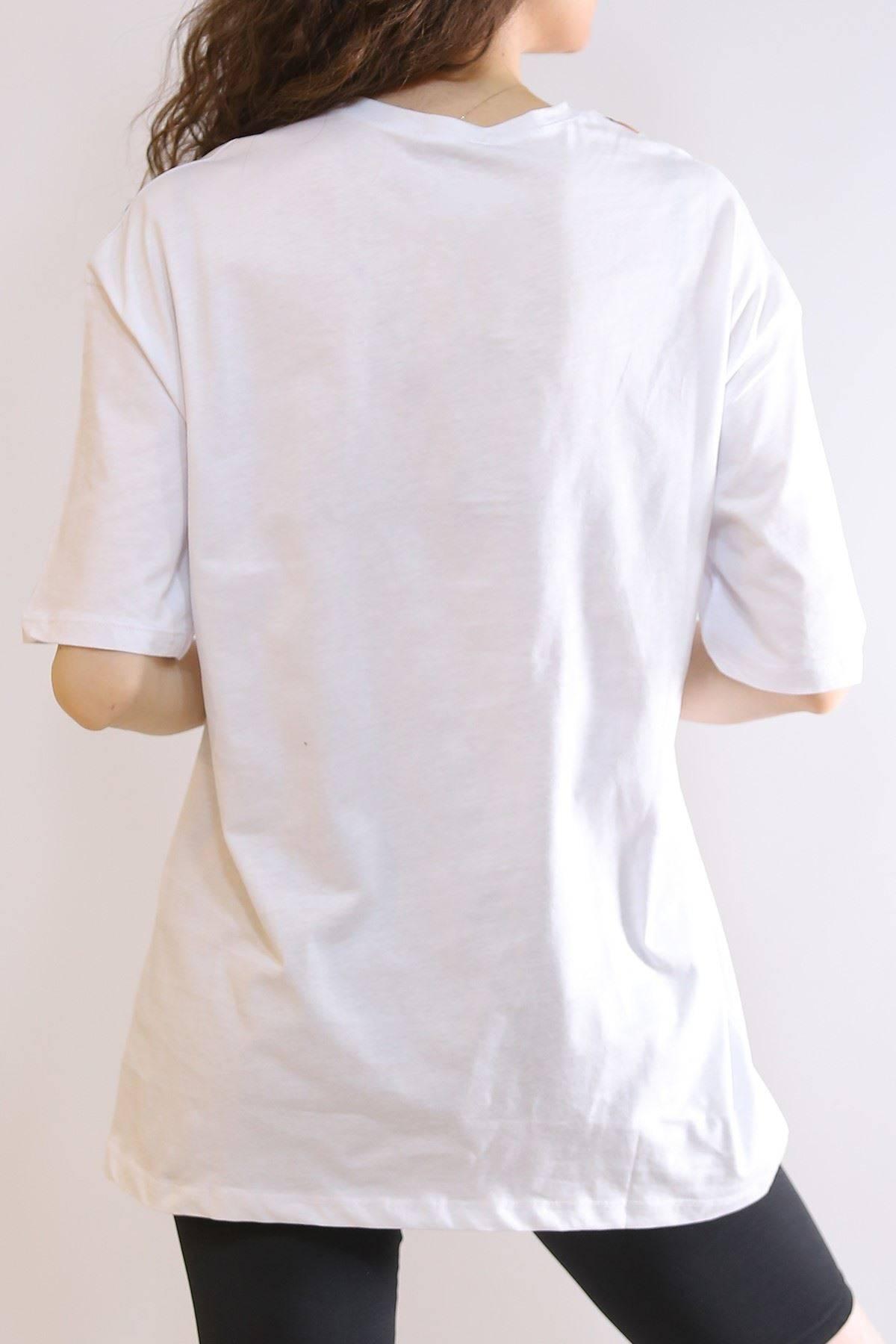 Oversıze Baskılı Tişört Beyaz - 3214.196.