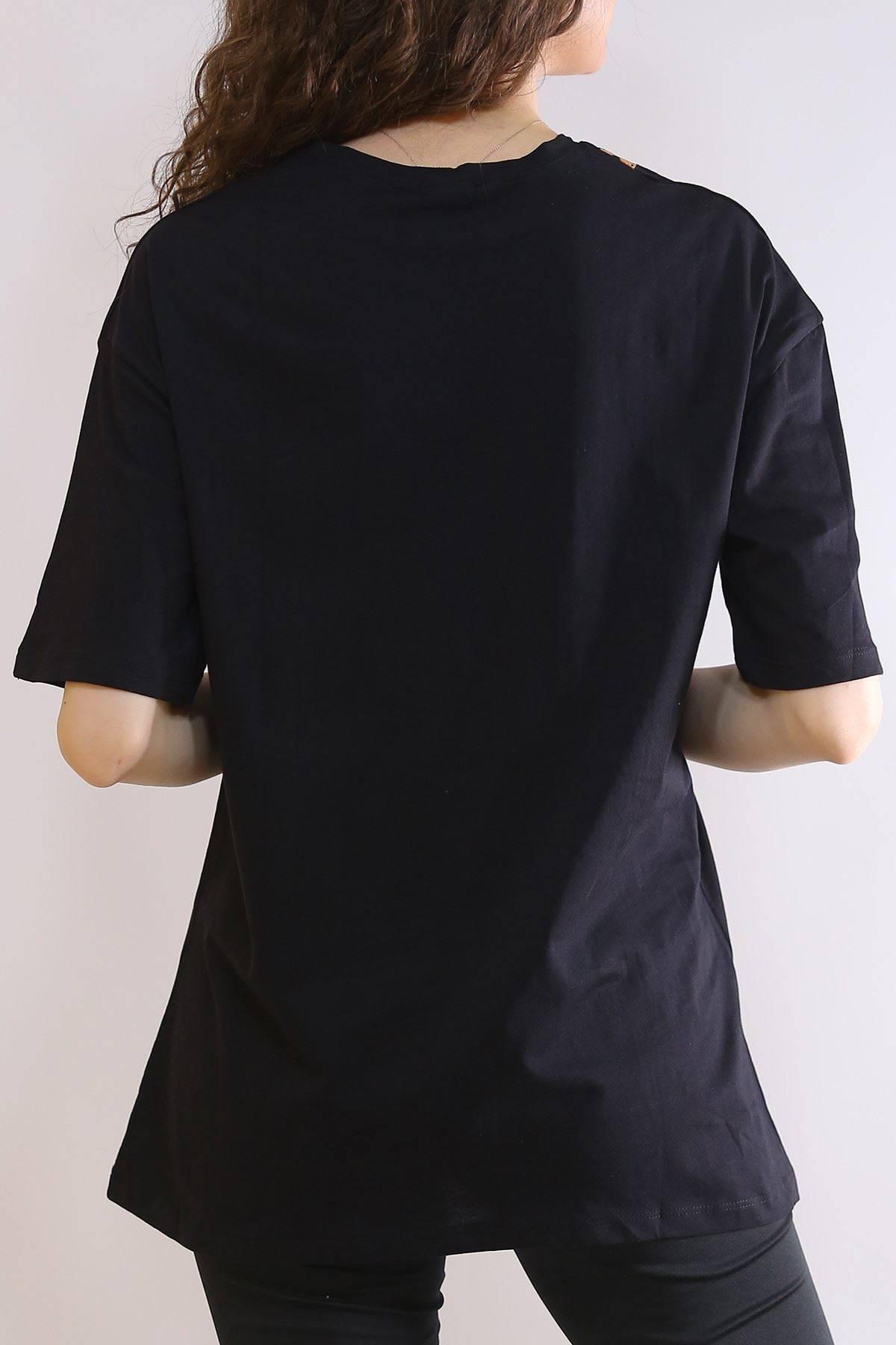 Oversıze Baskılı Tişört Siyah - 3214.196.