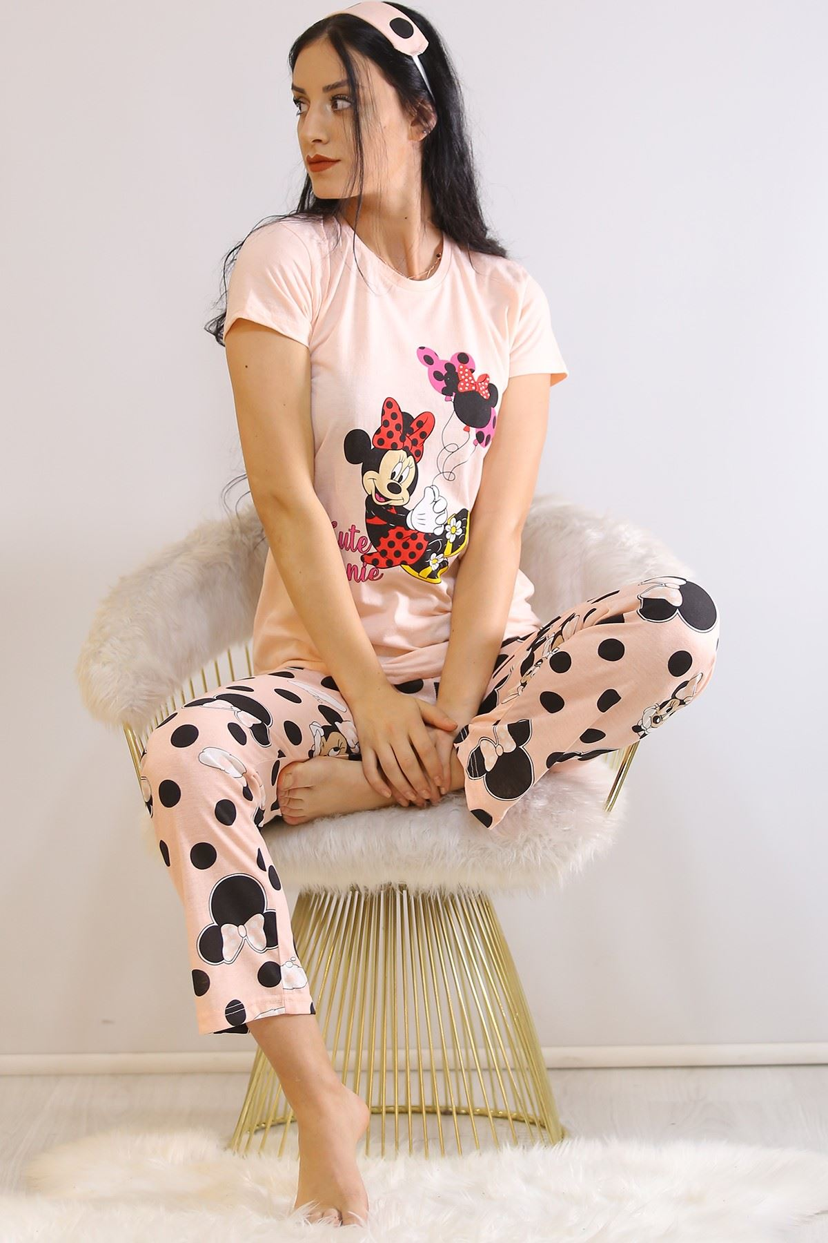 Baskılı Pijama Takımı Pudra - 21271.1059.