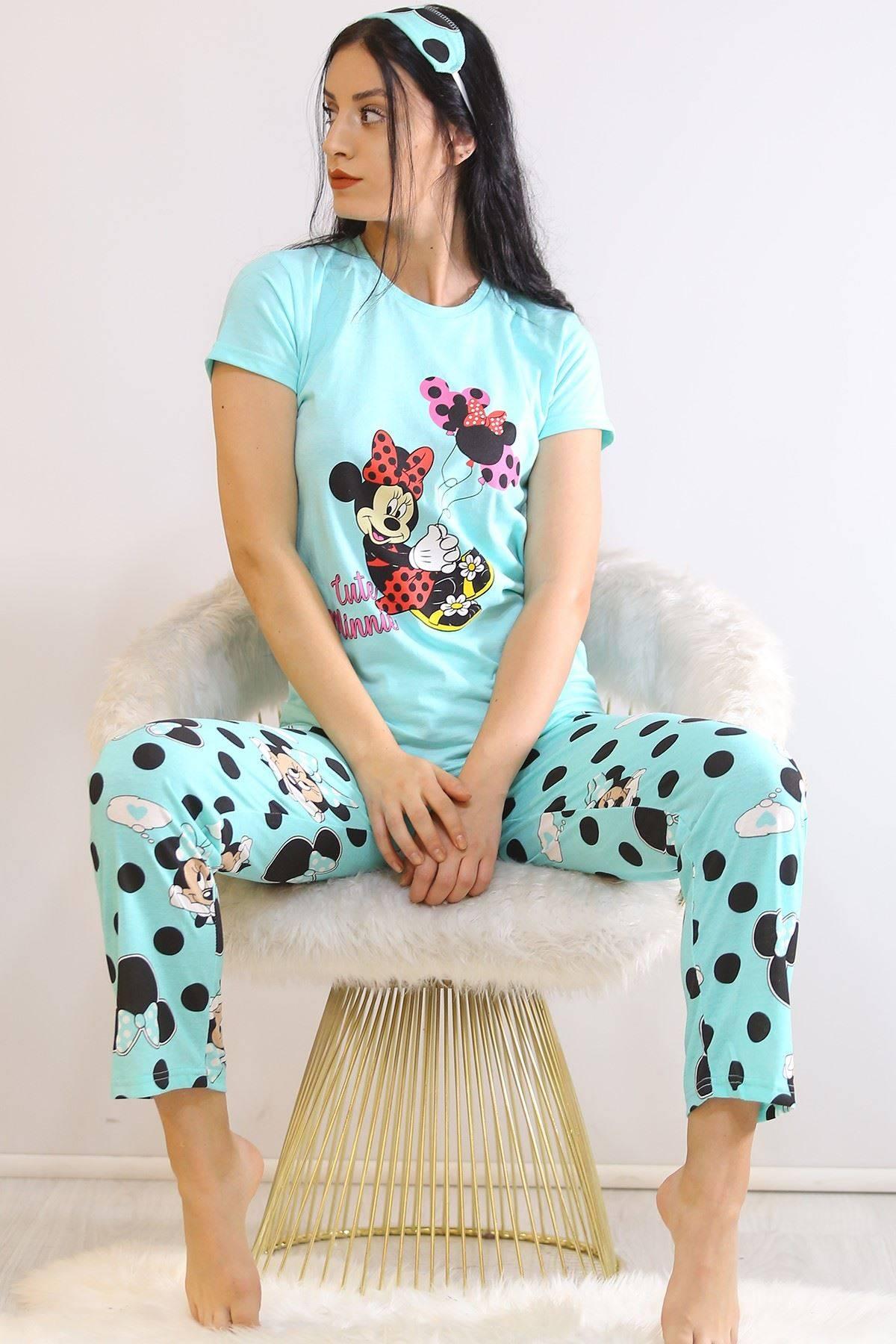 Baskılı Pijama Takımı Turkuaz - 21271.1059.