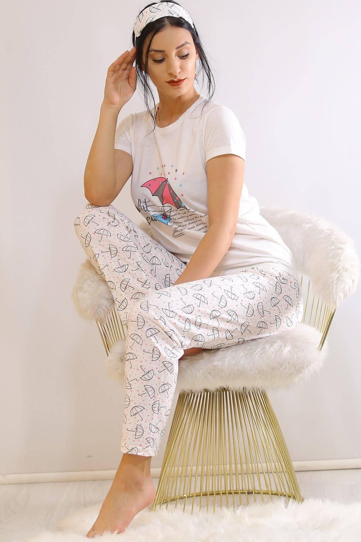 Baskılı Pijama Takımı Beyaz - 21462.1059.