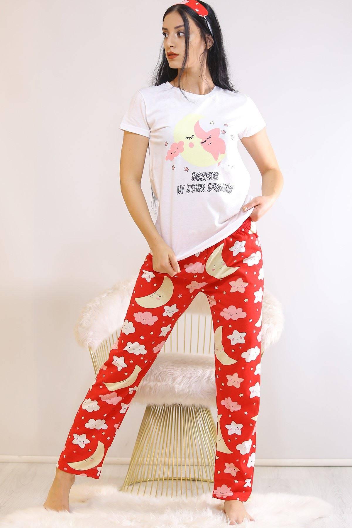 Baskılı Pijama Takımı Beyaz - 21833.1059.