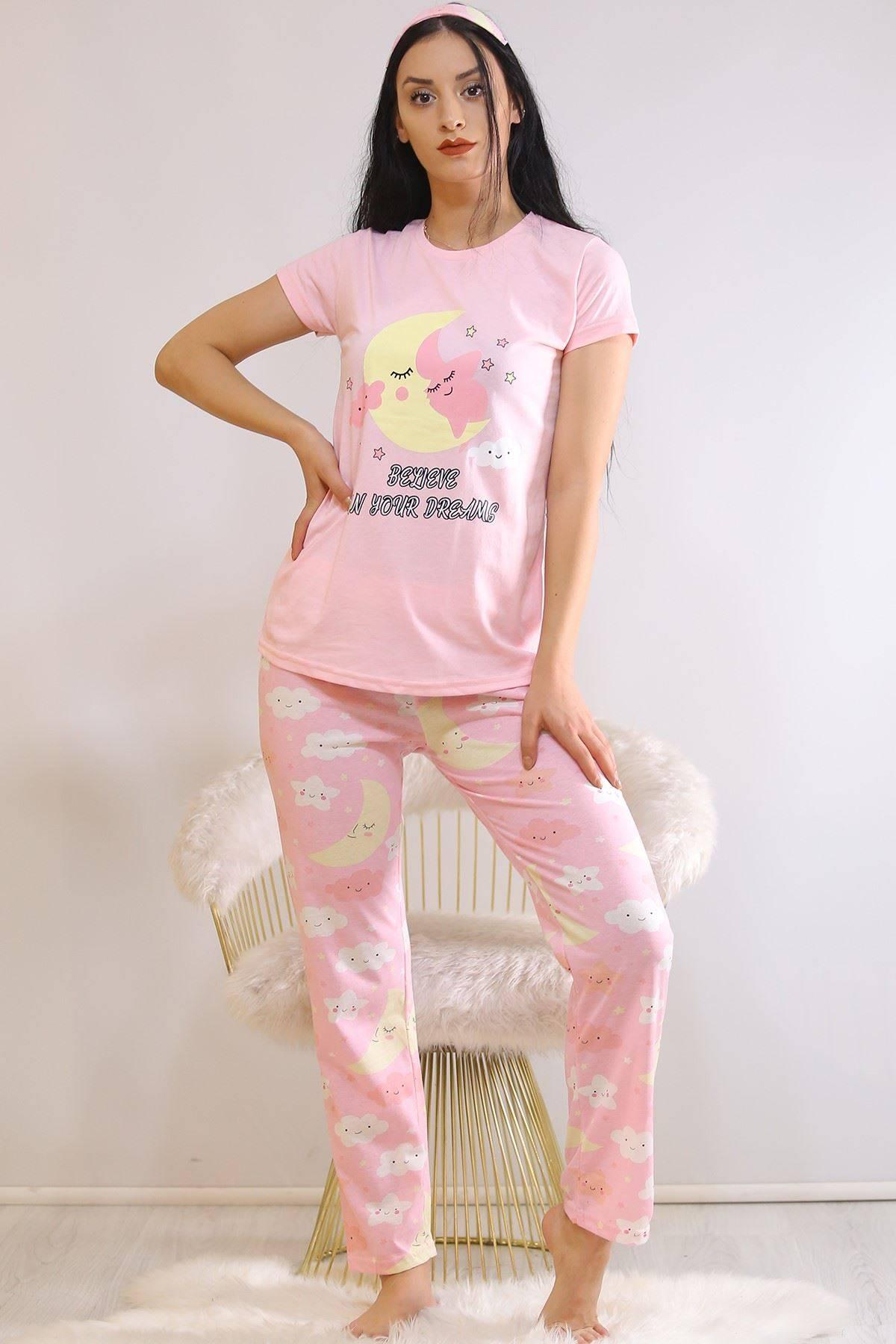 Baskılı Pijama Takımı Pembe - 21835.1059.