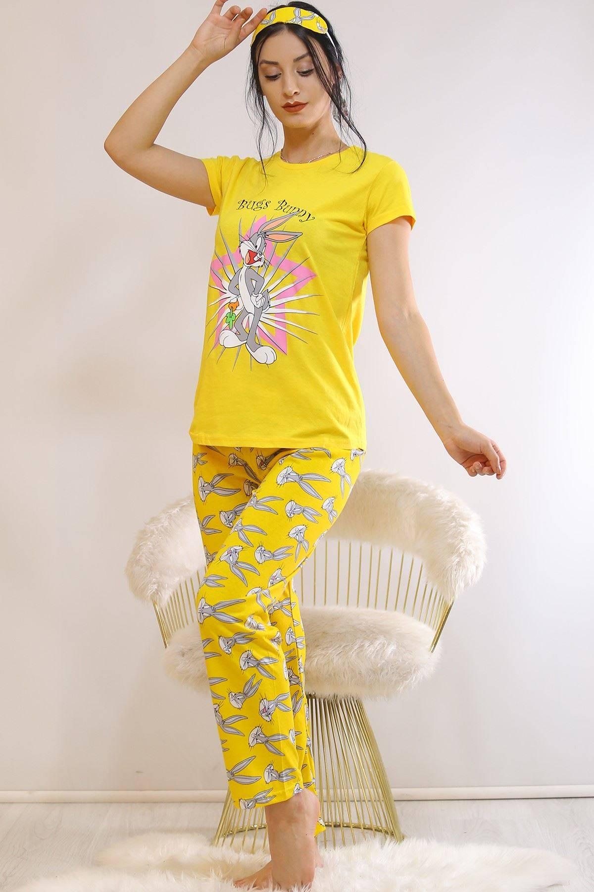Baskılı Pijama Takımı Sarı - 21879.1059.