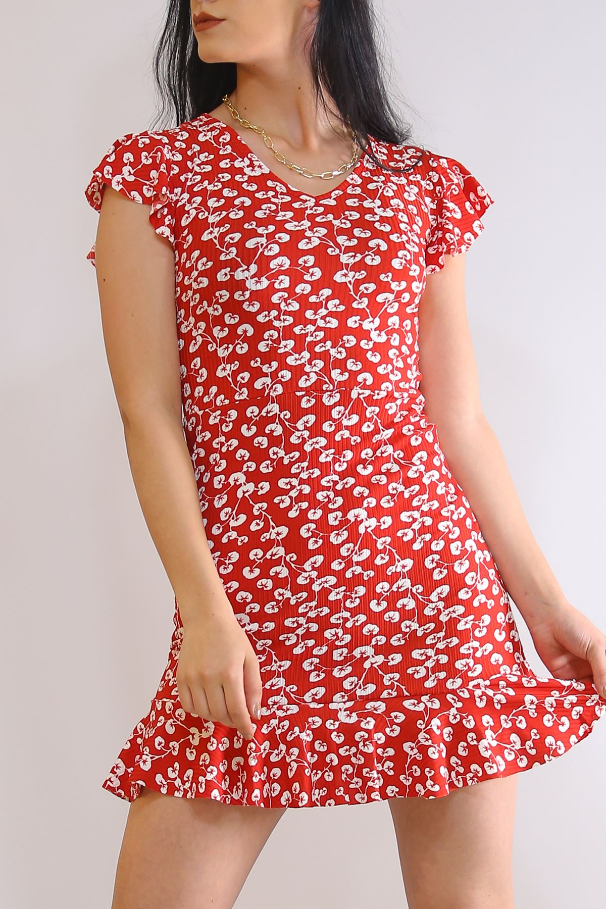 Altı Fırfırlı Elbise Kırmızıçiçekli - 2255.555.