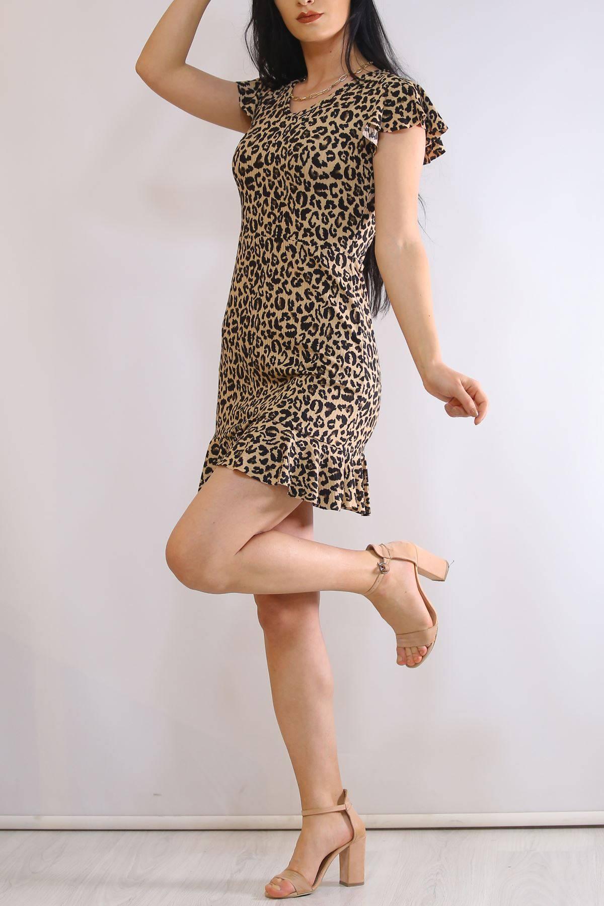 Altı Fırfırlı Elbise Leopar - 2255.555.
