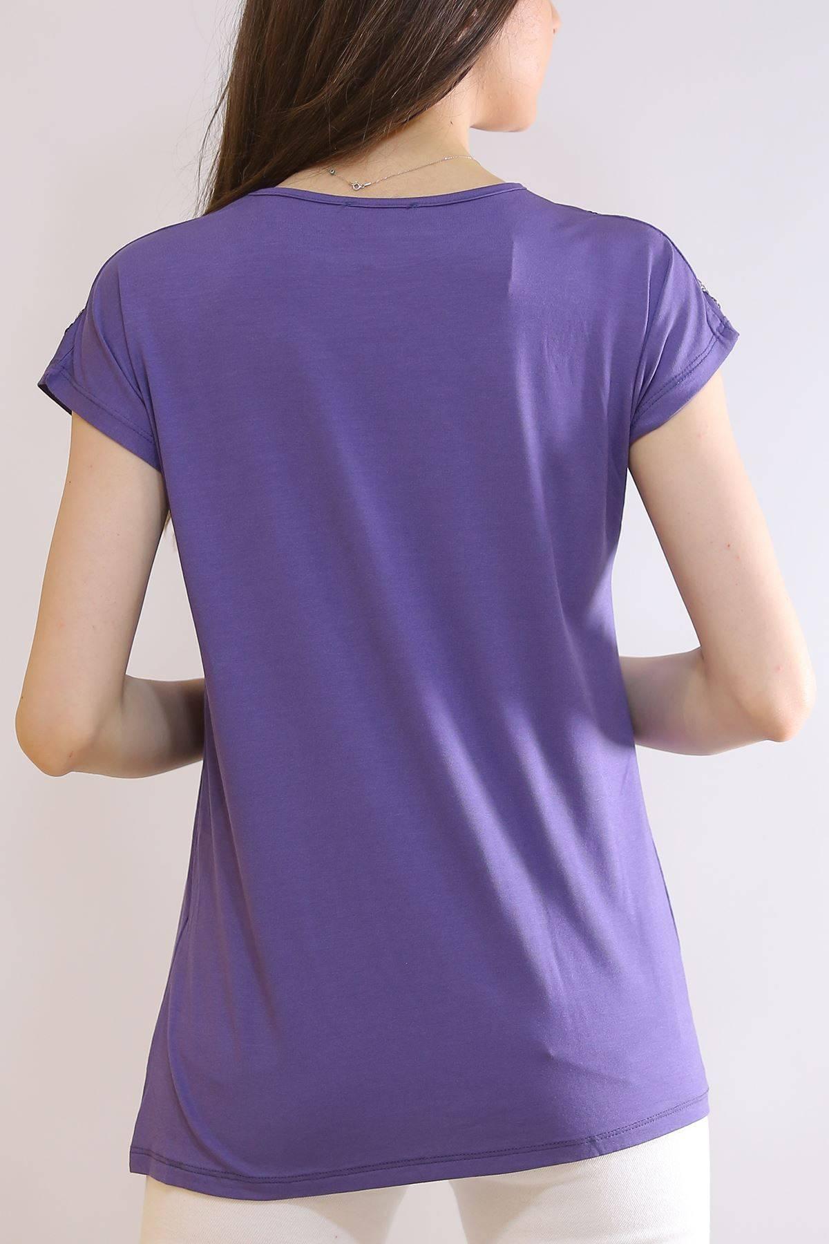 Omuz Pullu Tişört İndigo - 5360.139.