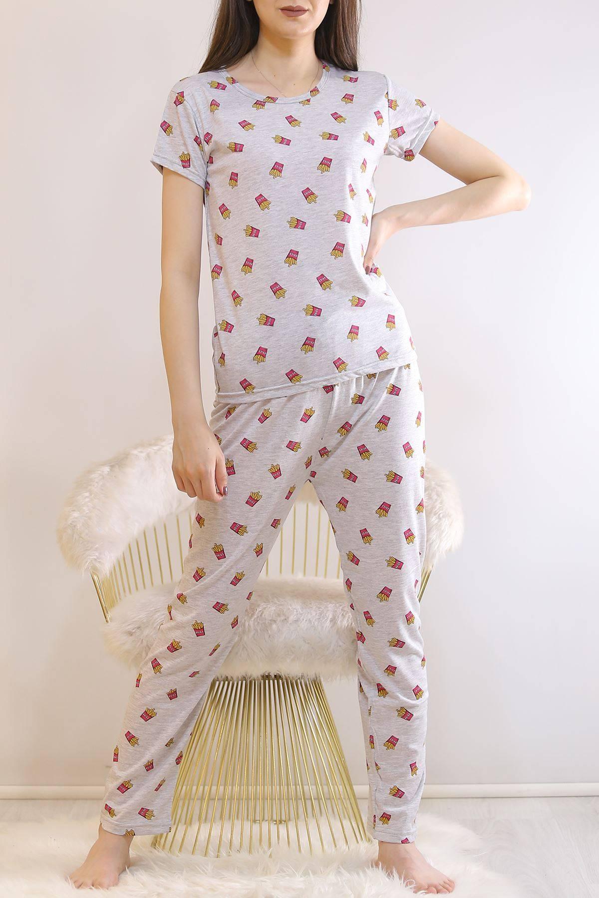 Desenli Pijama Takımı Gri - 130.1287.