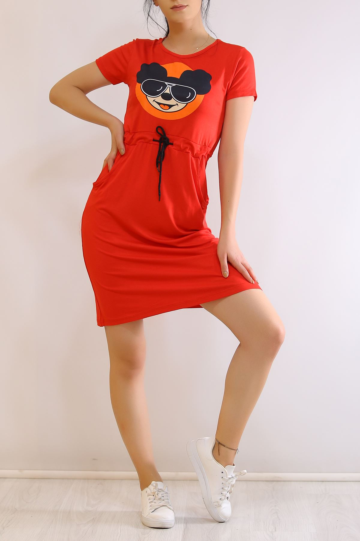 Kısa Kol Cepli Elbise Kırmızı - 2353.555.