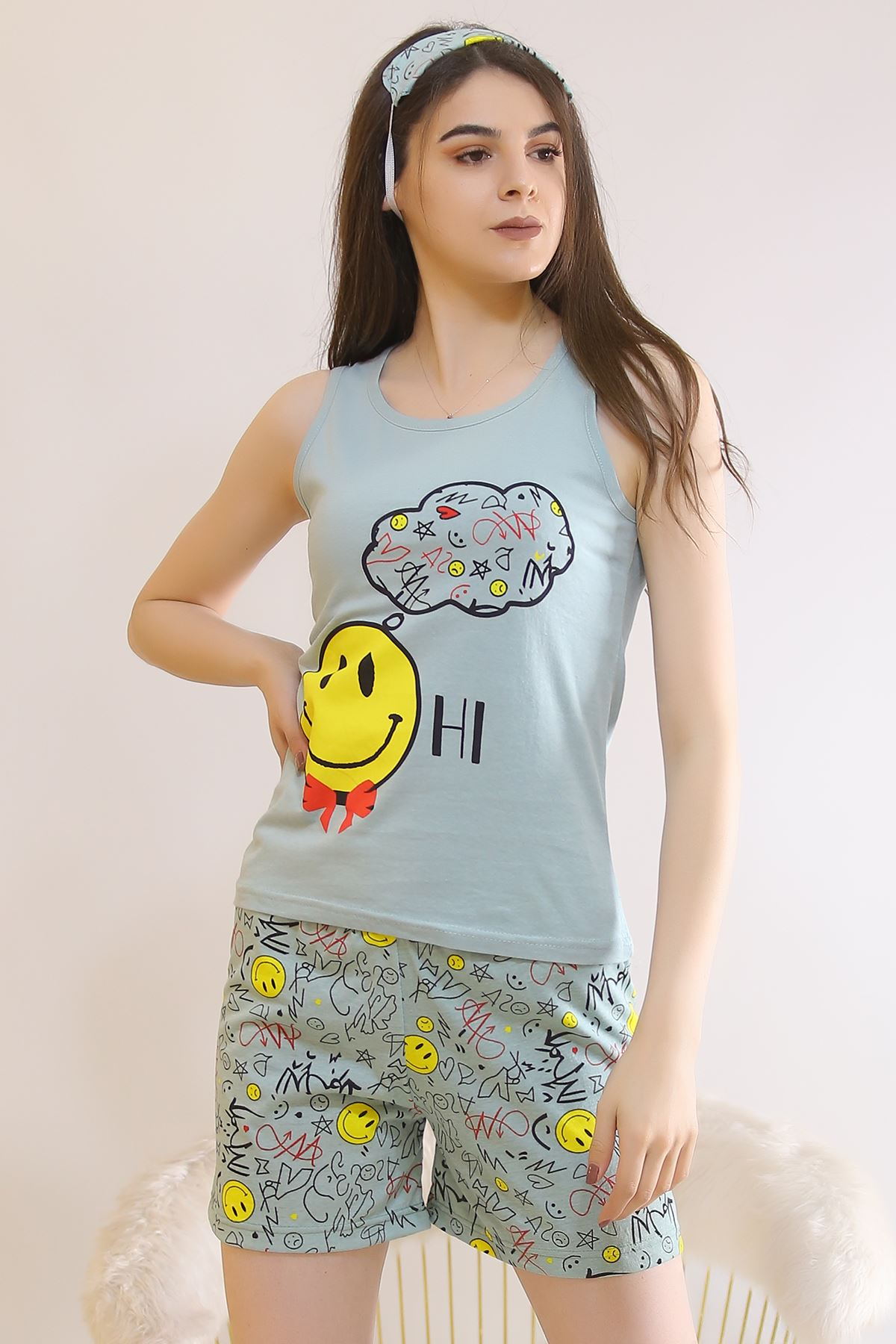 Şortlu Pijama Takımı Mint - 6046.1059.