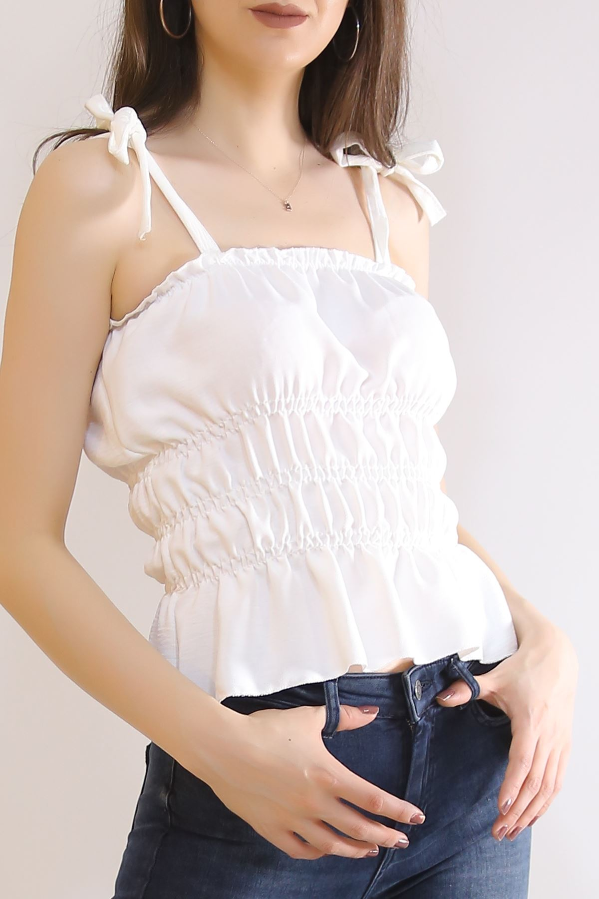 İp Askılı Gipeli Bluz Beyaz - 7109.224.