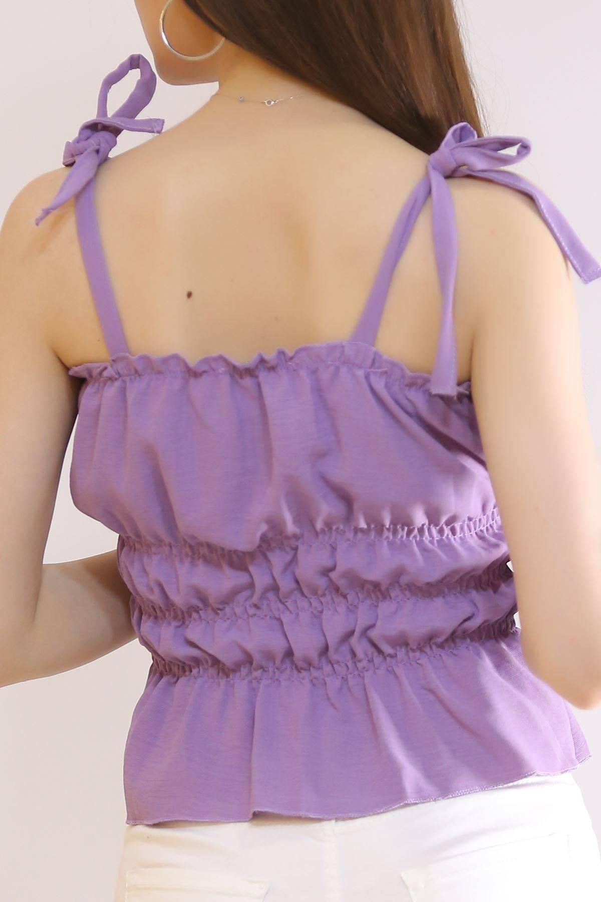 İp Askılı Gipeli Bluz Lila - 7109.224.
