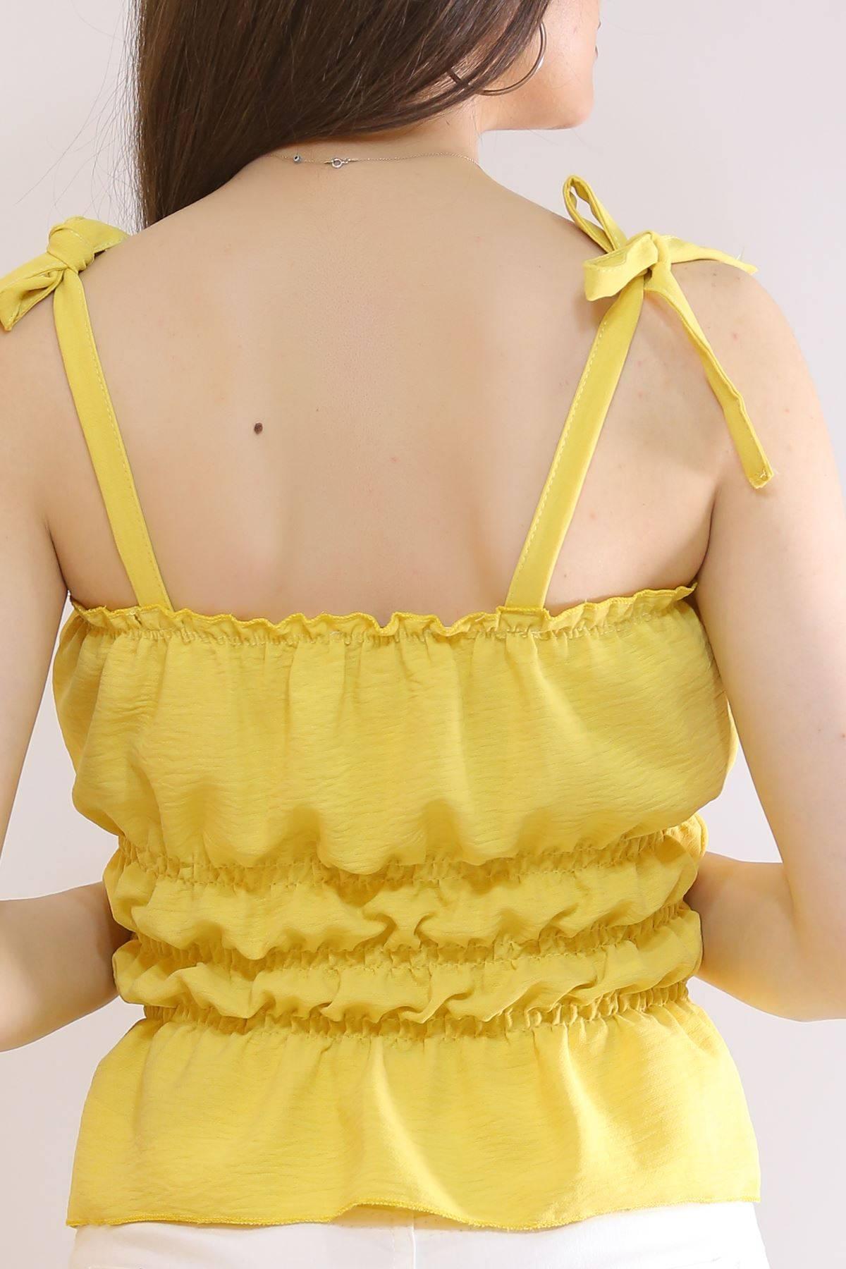 İp Askılı Gipeli Bluz Sarı - 7109.224.