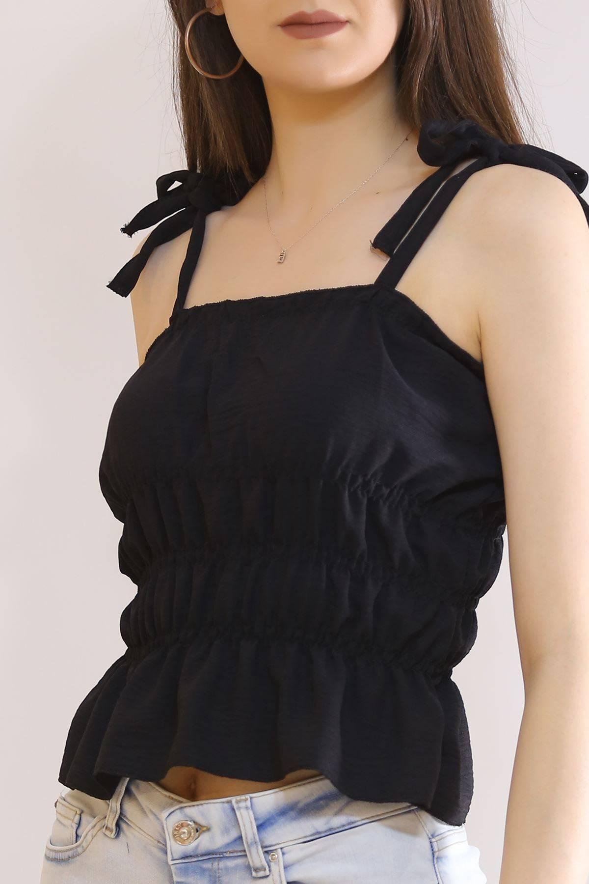 İp Askılı Gipeli Bluz Siyah - 7109.224.