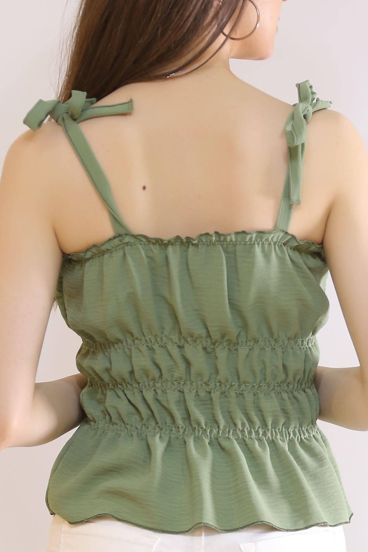 İp Askılı Gipeli Bluz Yeşil - 7109.224.