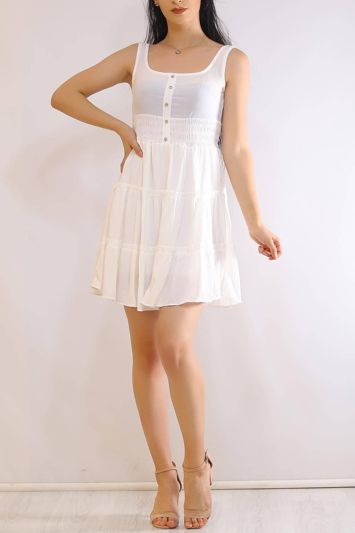 Düğmeli Askılı Elbise Beyaz - 21117.101.