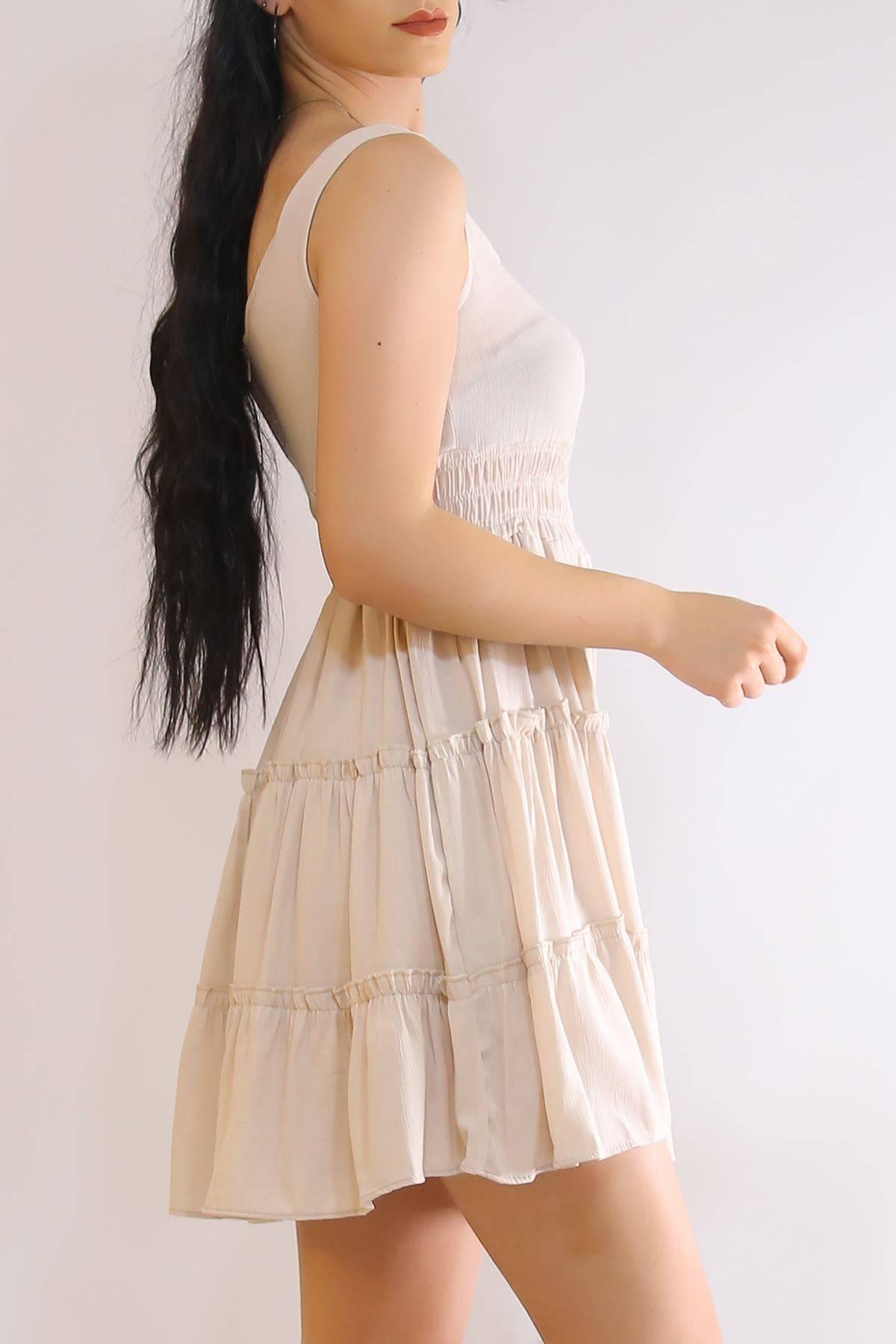 Düğmeli Askılı Elbise Taş - 21117.101.