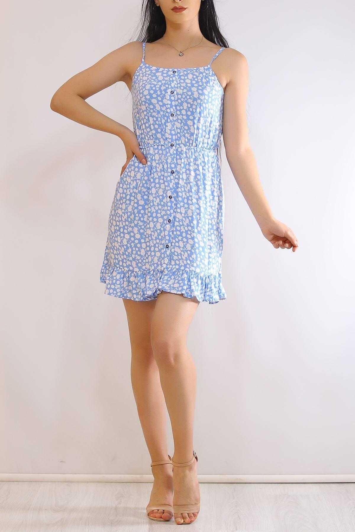 İp Askılı Elbise Mavibeyaz - 21160.101.