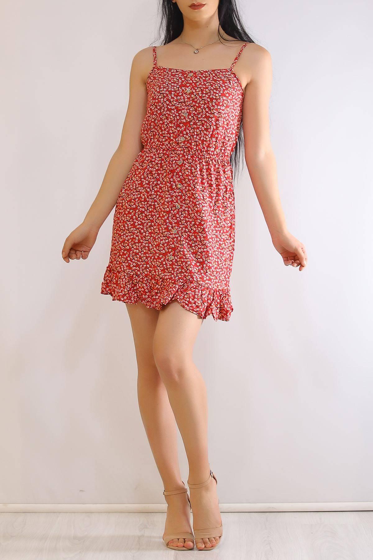 İp Askılı Elbise Kırmızıçiçekli - 21160.101.