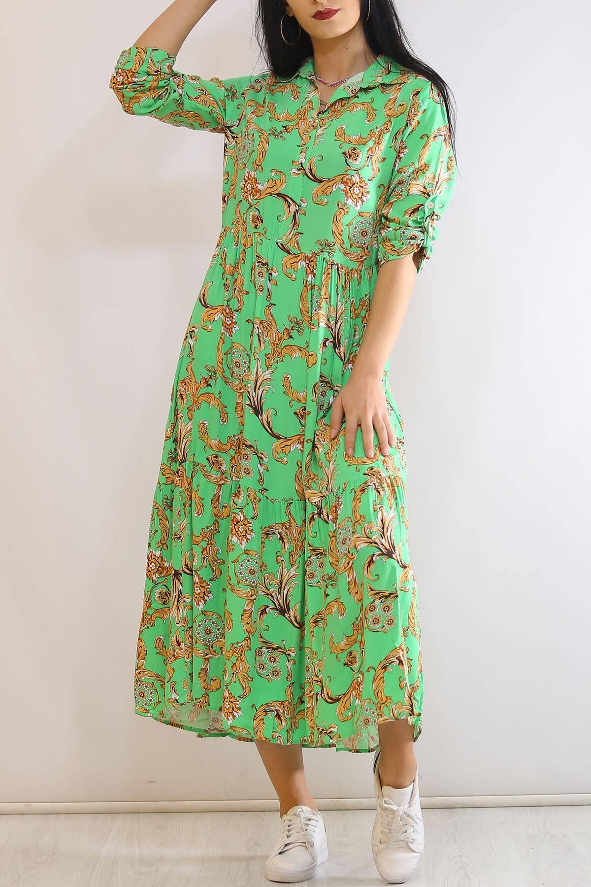 Katlama Kol Elbise Yeşildesenli - 4807.701.