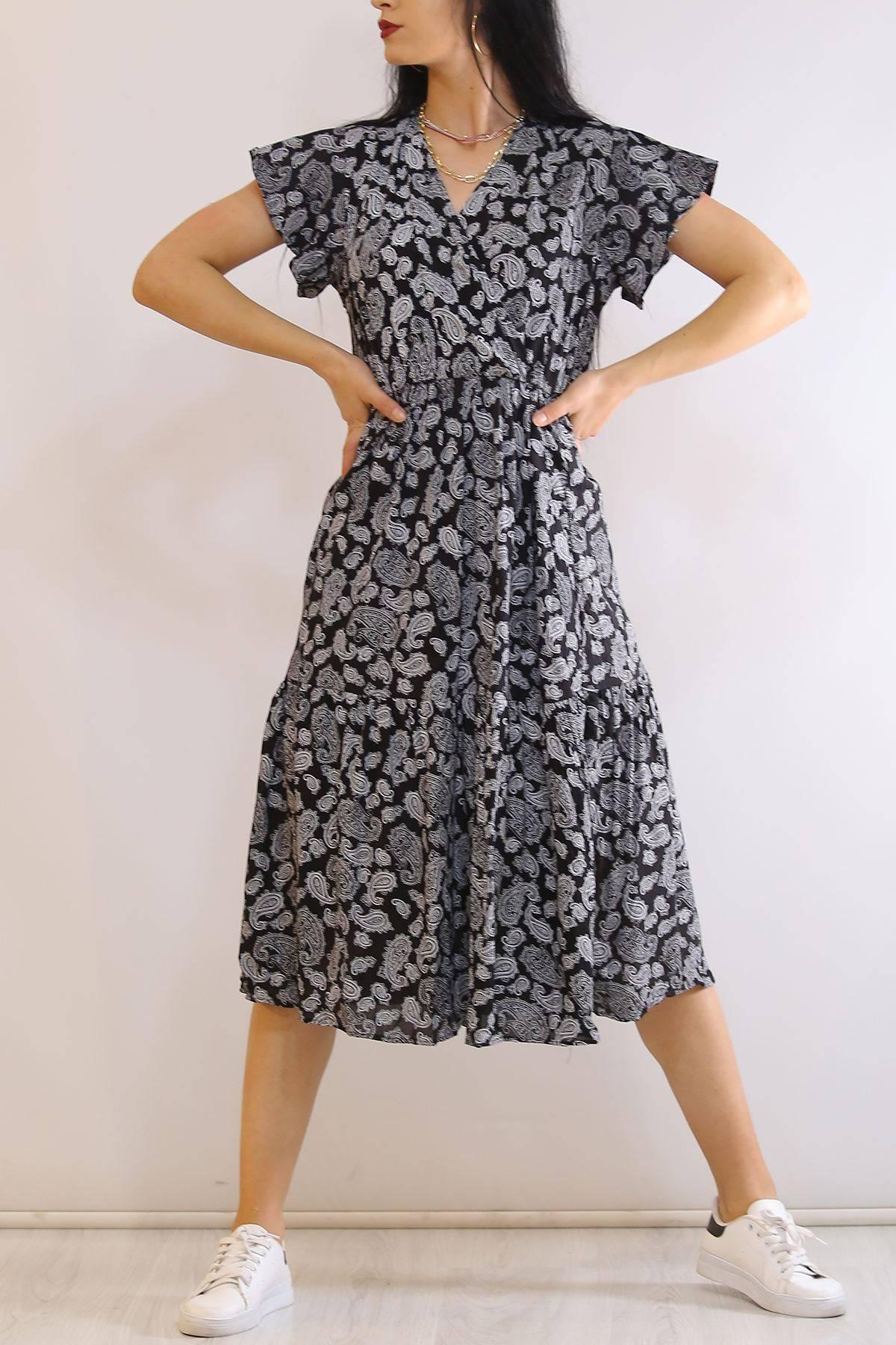 Kruvaze Yaka Elbise Desenlisiyah - 5372.701.