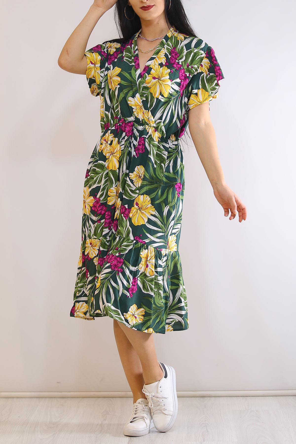 Kruvaze Yaka Elbise Yeşilsarı - 5372.701.