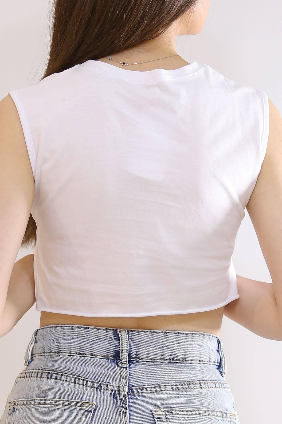 Sıfır Kol Crop Tişört Beyaz - 6073.1247.