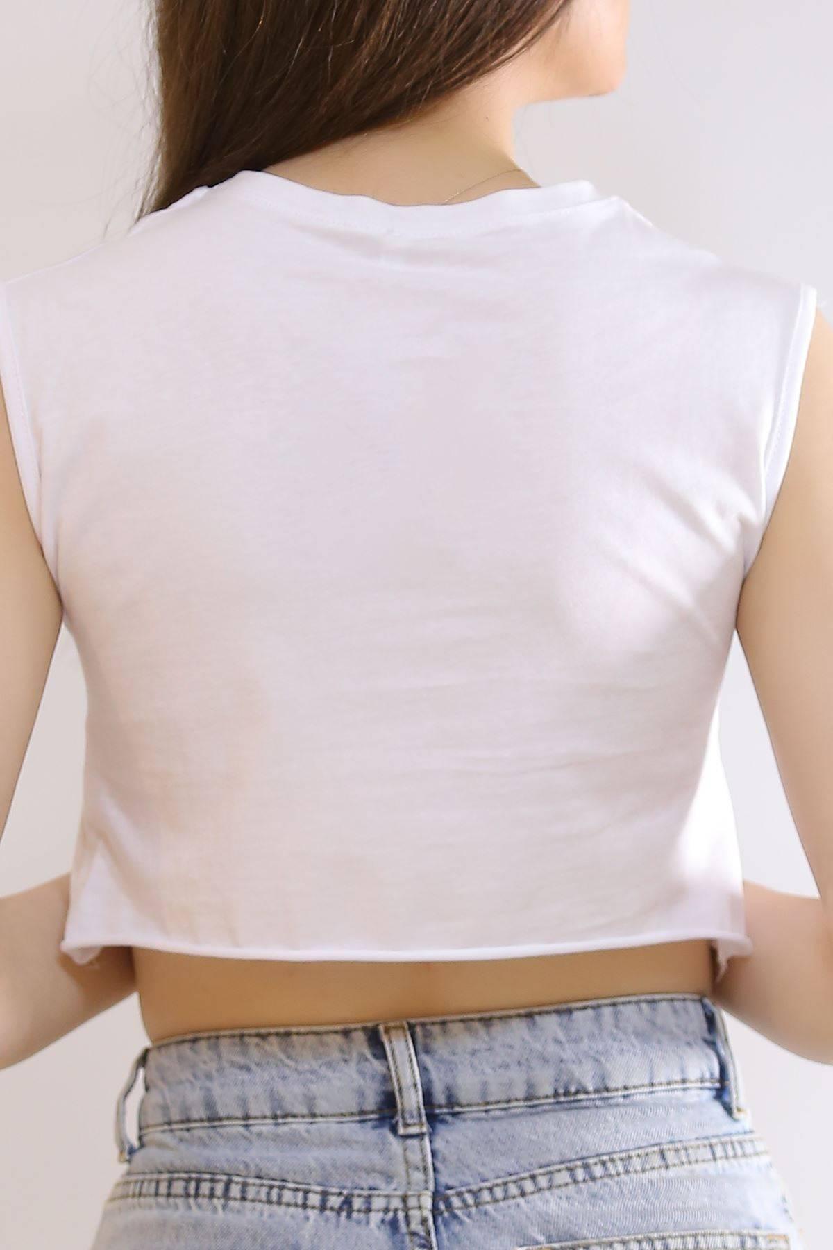 Sıfır Kol Crop Tişört Beyaz - 6077.1247.