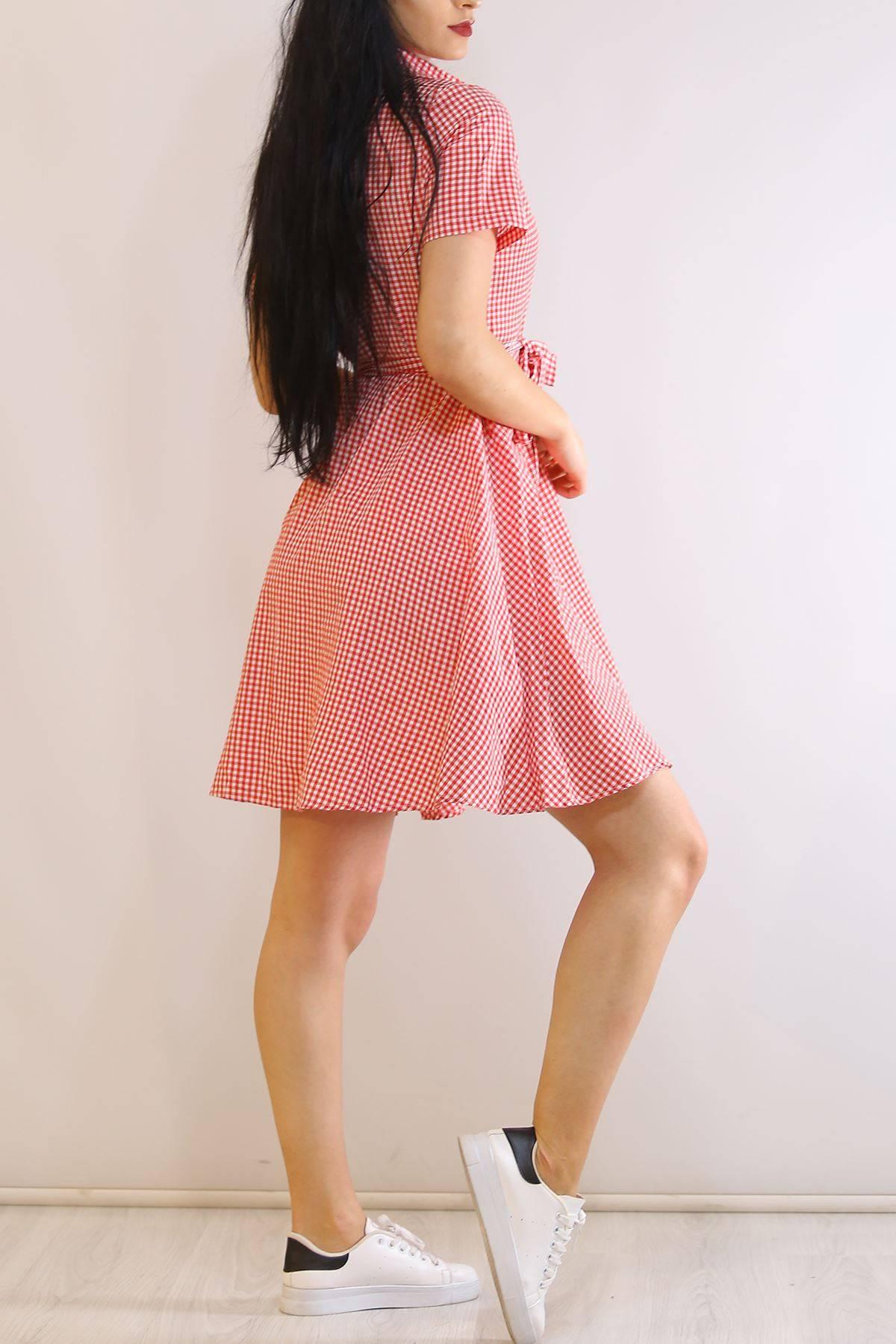 Kısa Kol Kemerli Elbise Kırmızı - 6172.365.