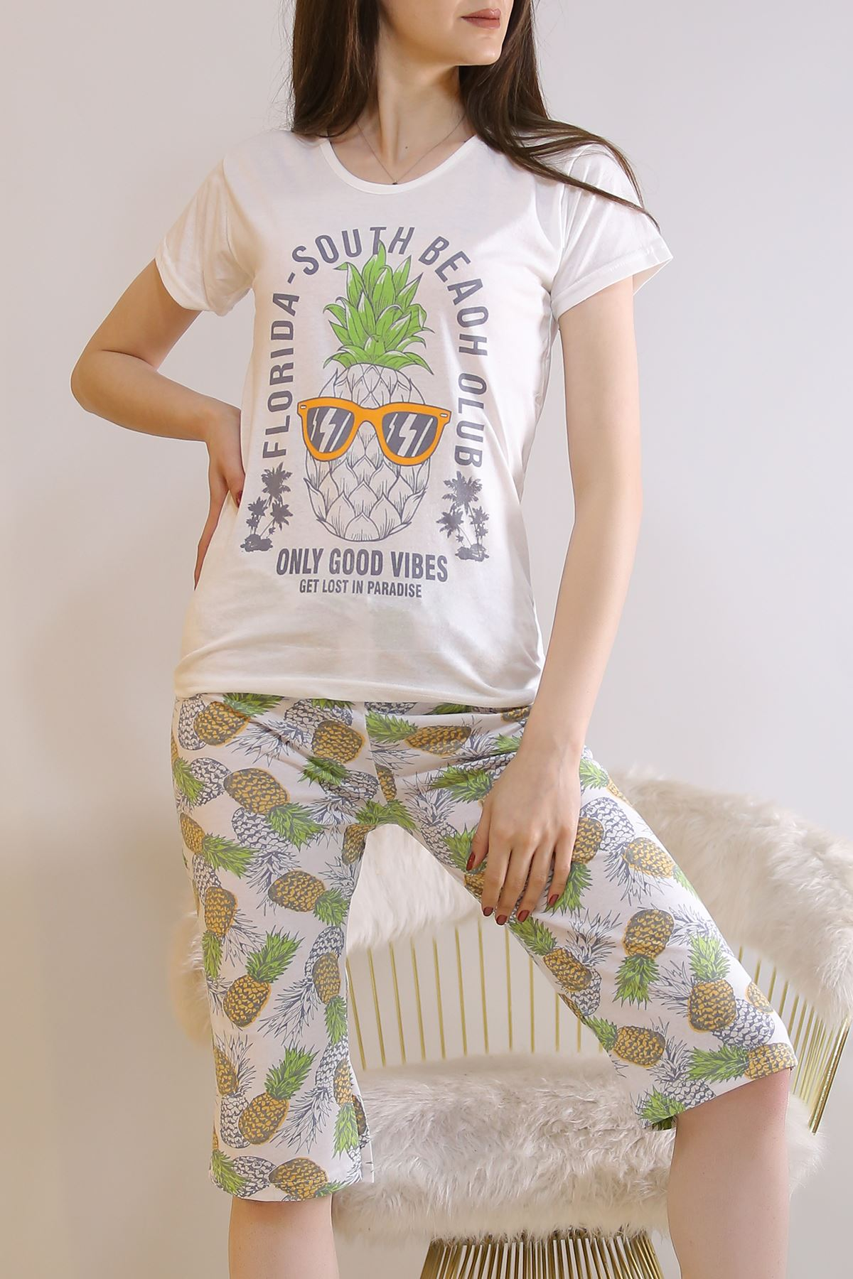 Kapri Pijama Takımı Beyazyeşil - 6177.1300.