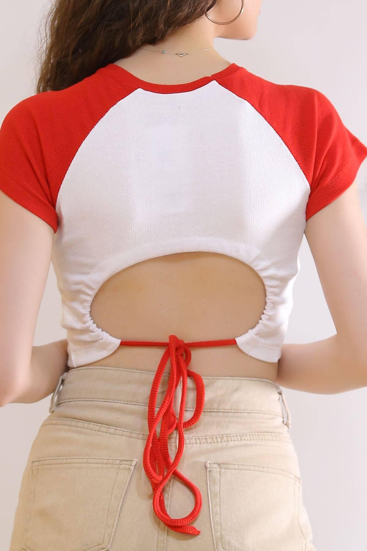 Arkadan Bağalamalı Crop Bluz Kırmızı - 6185.1254.