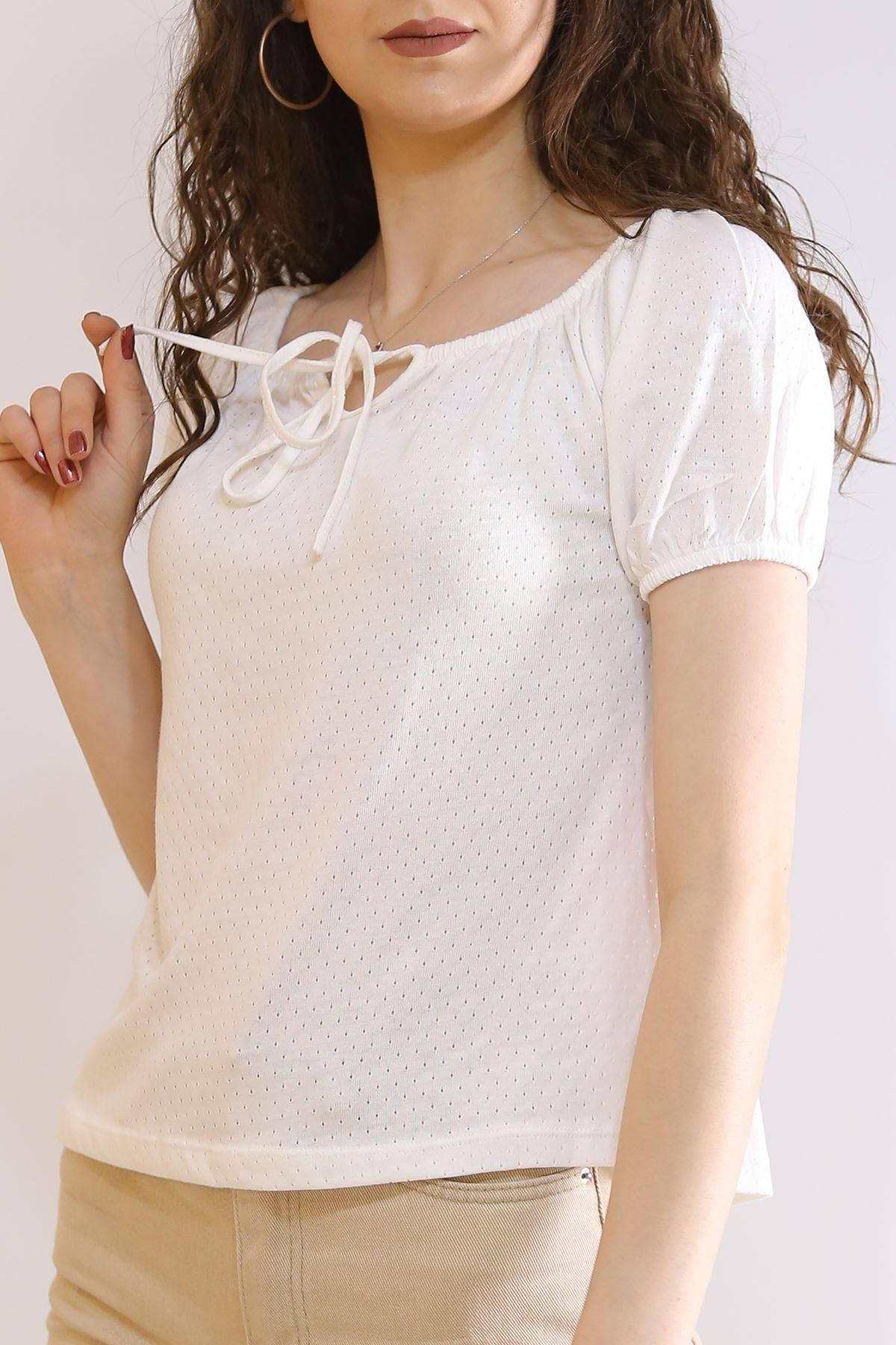 Kayık Yaka Bağlamalı Bluz Beyaz - 6196.107.