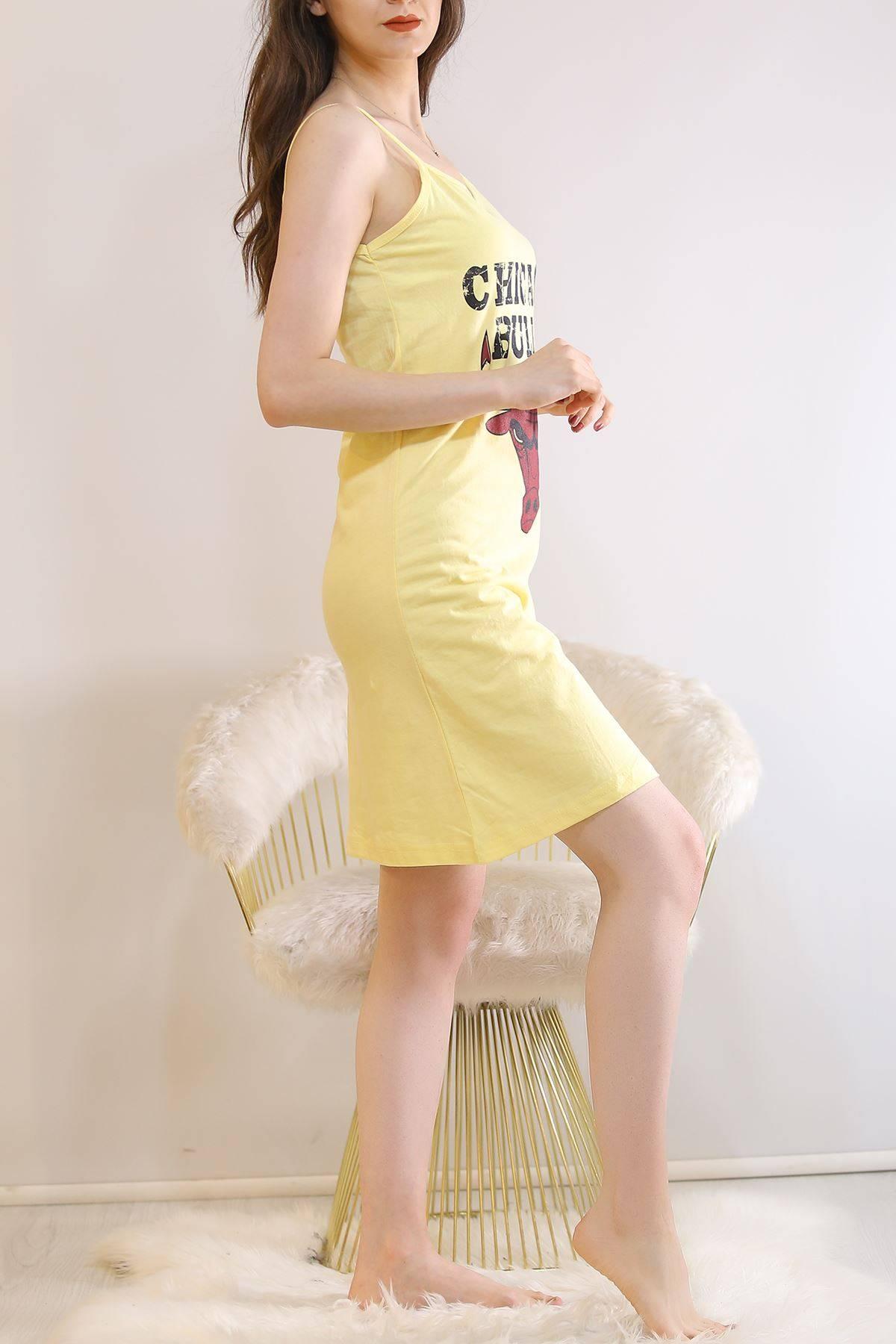 İp Askılı Elbise Sarı2 - 5996.1287.
