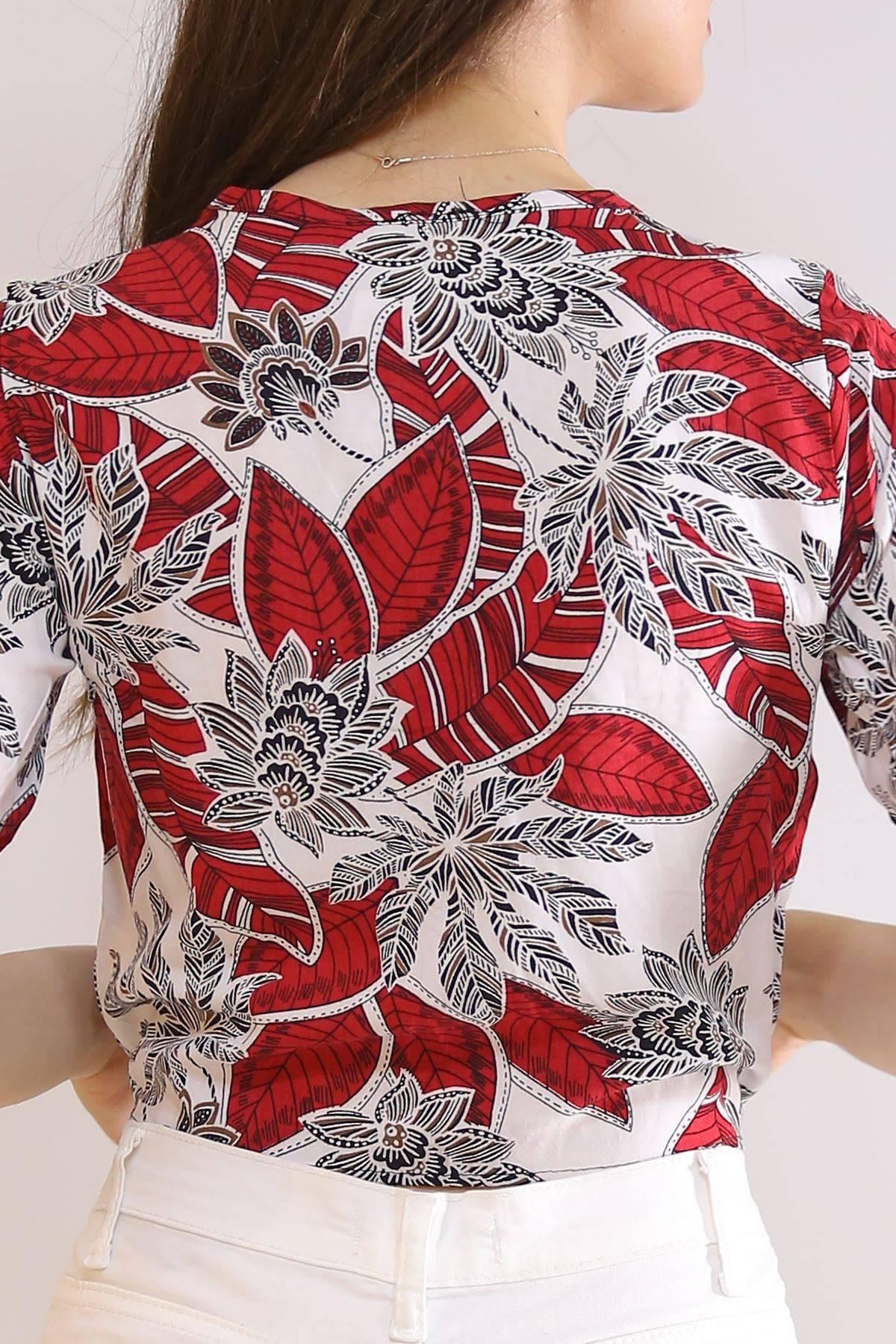 Altı Bağlamalı Bluz Kırmızıyapraklı - 5835.1153.