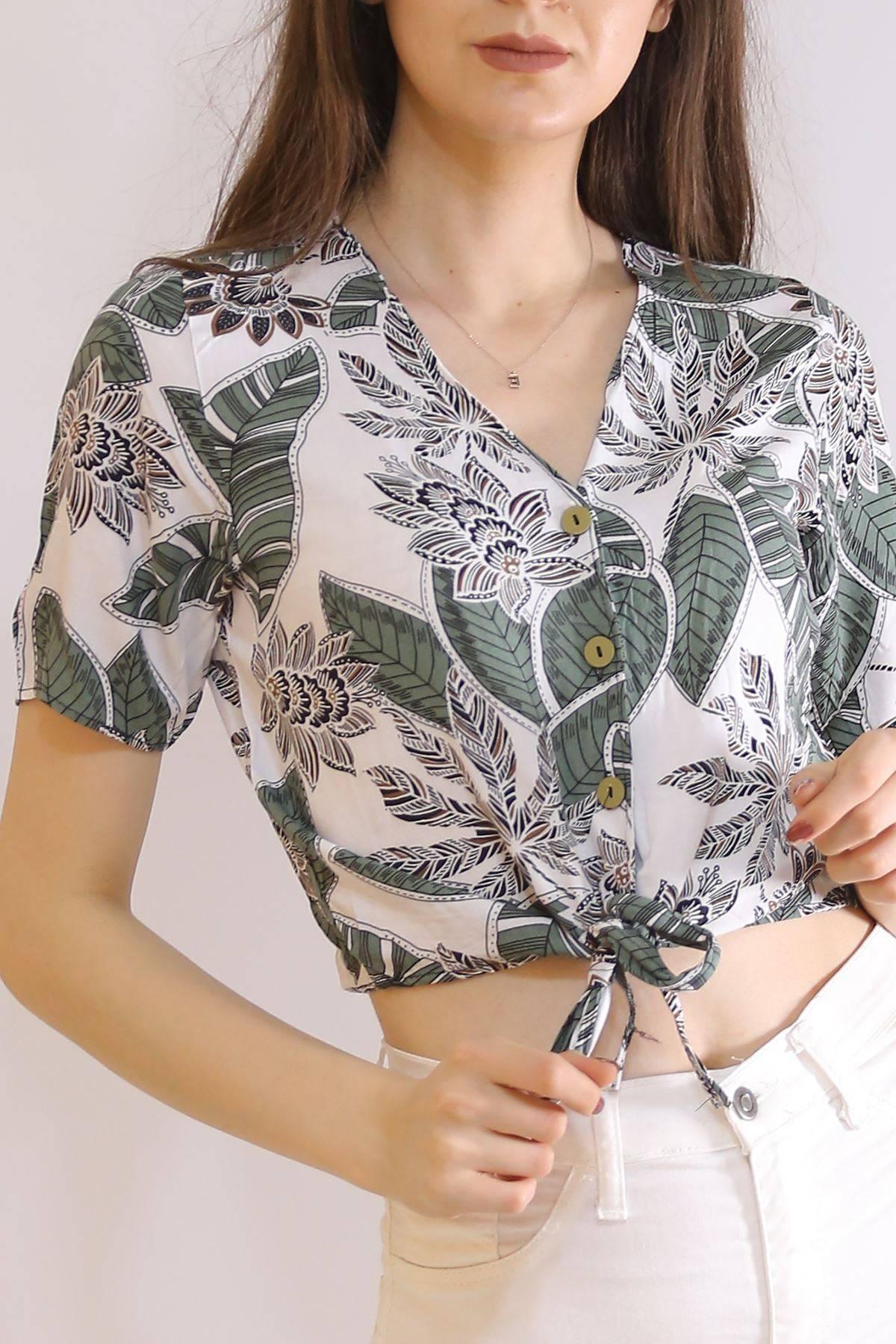 Altı Bağlamalı Bluz Yeşilyapraklı - 5835.1153.