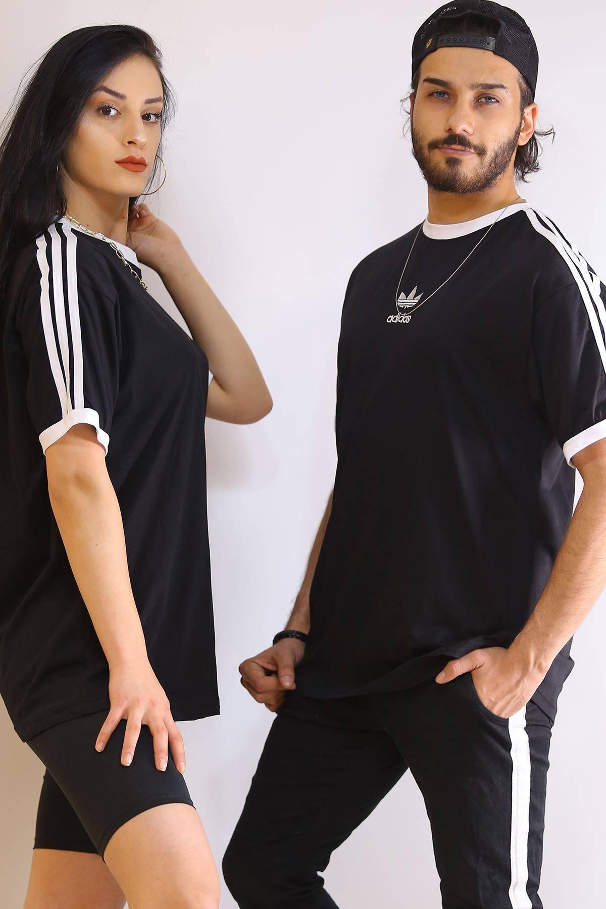 Kol Şeritli Tişört Siyah - 6179.1377.