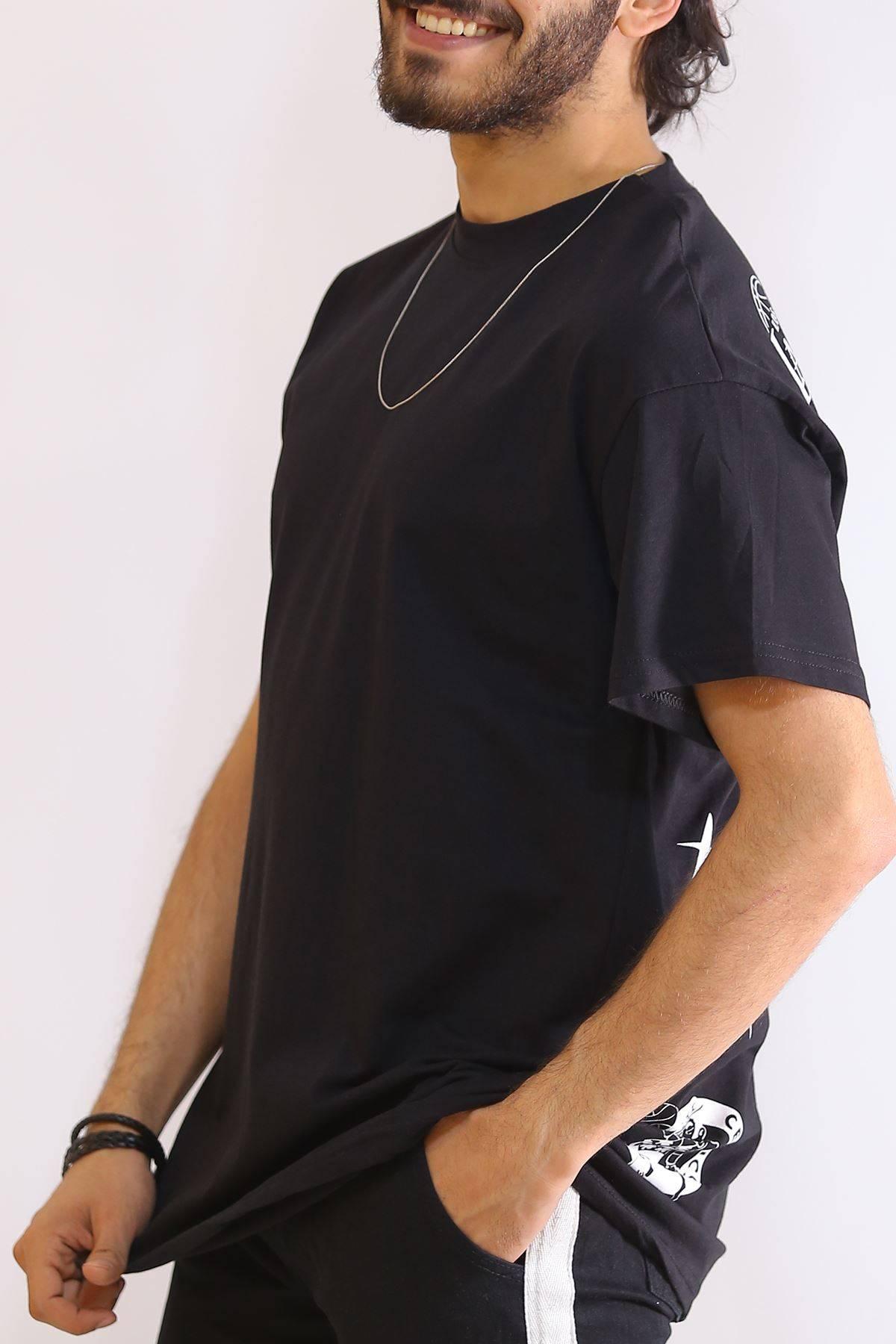Sırt Baskılı Tişört Siyah - 6180.1377.
