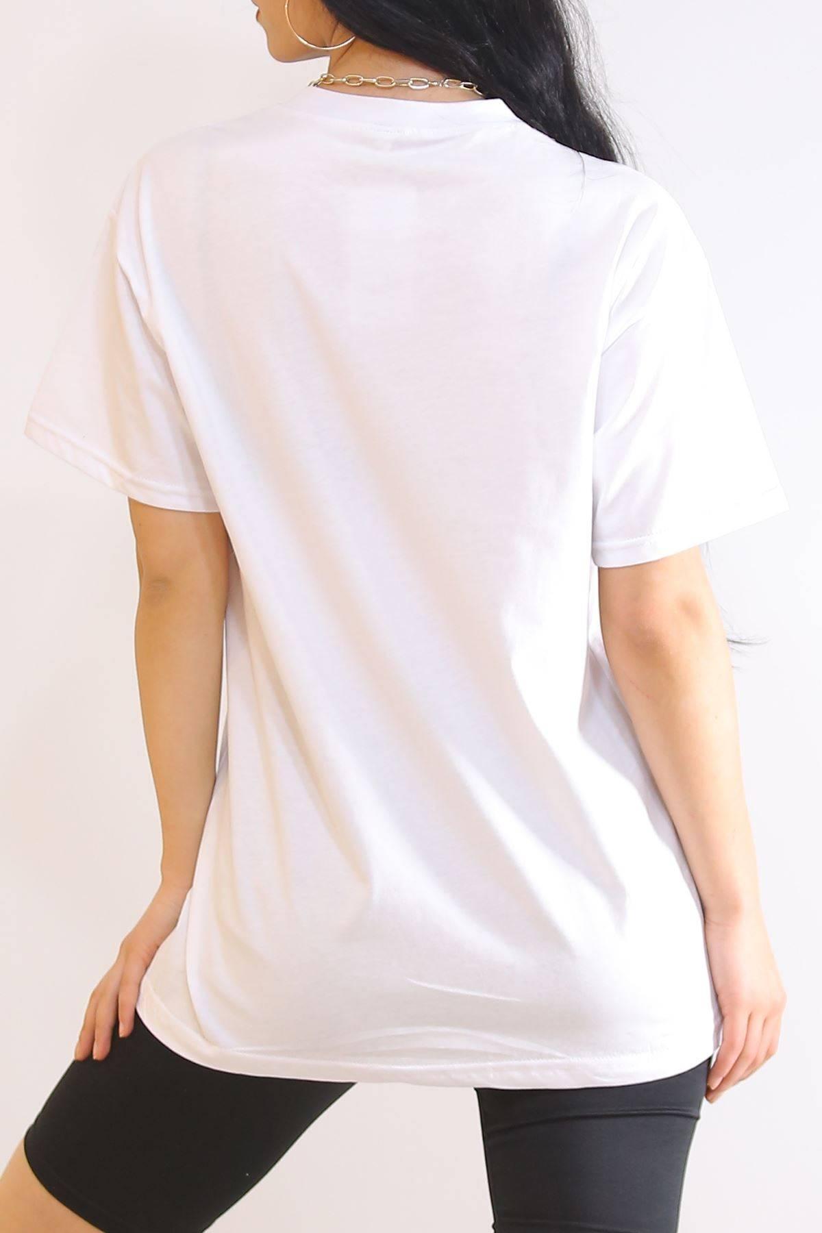 Biyeli Nakışlı Tişört Beyaz - 6183.1377.