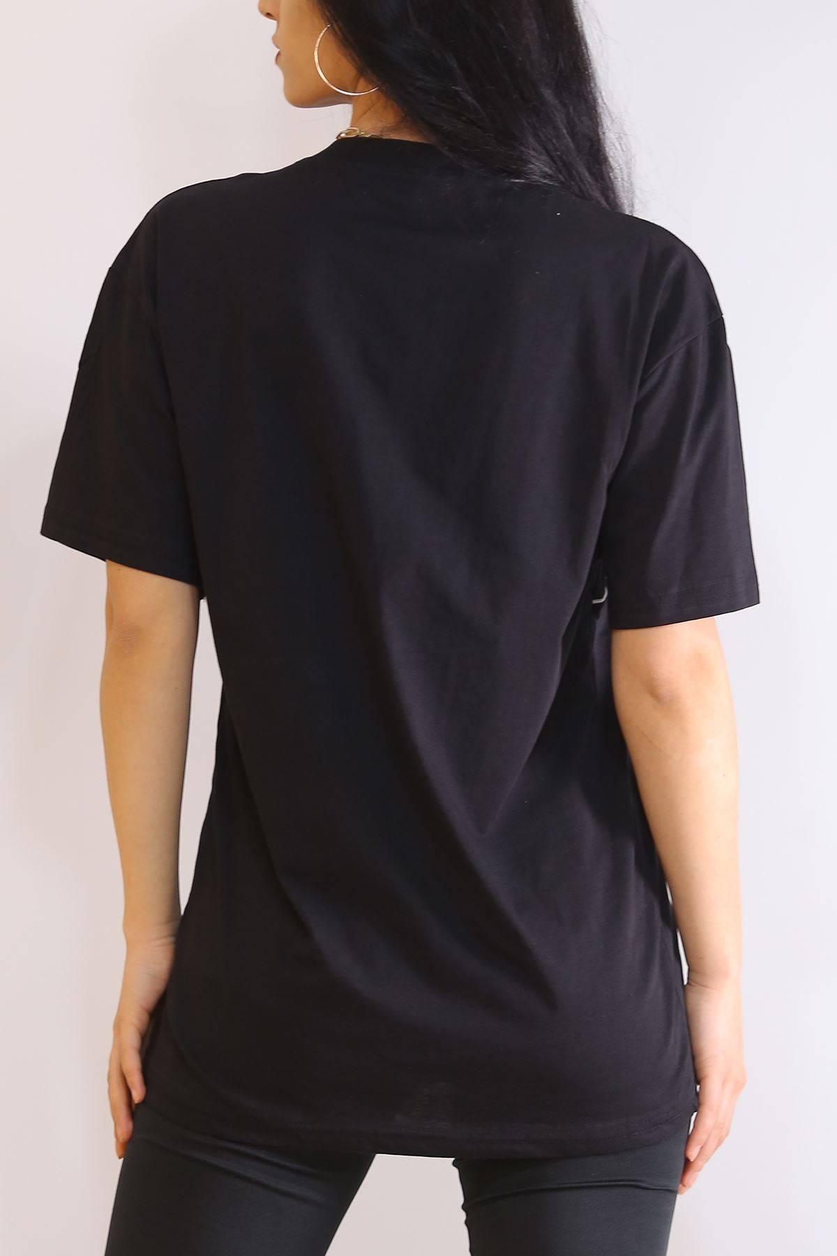 Biyeli Nakışlı Tişört Siyah - 6183.1377.