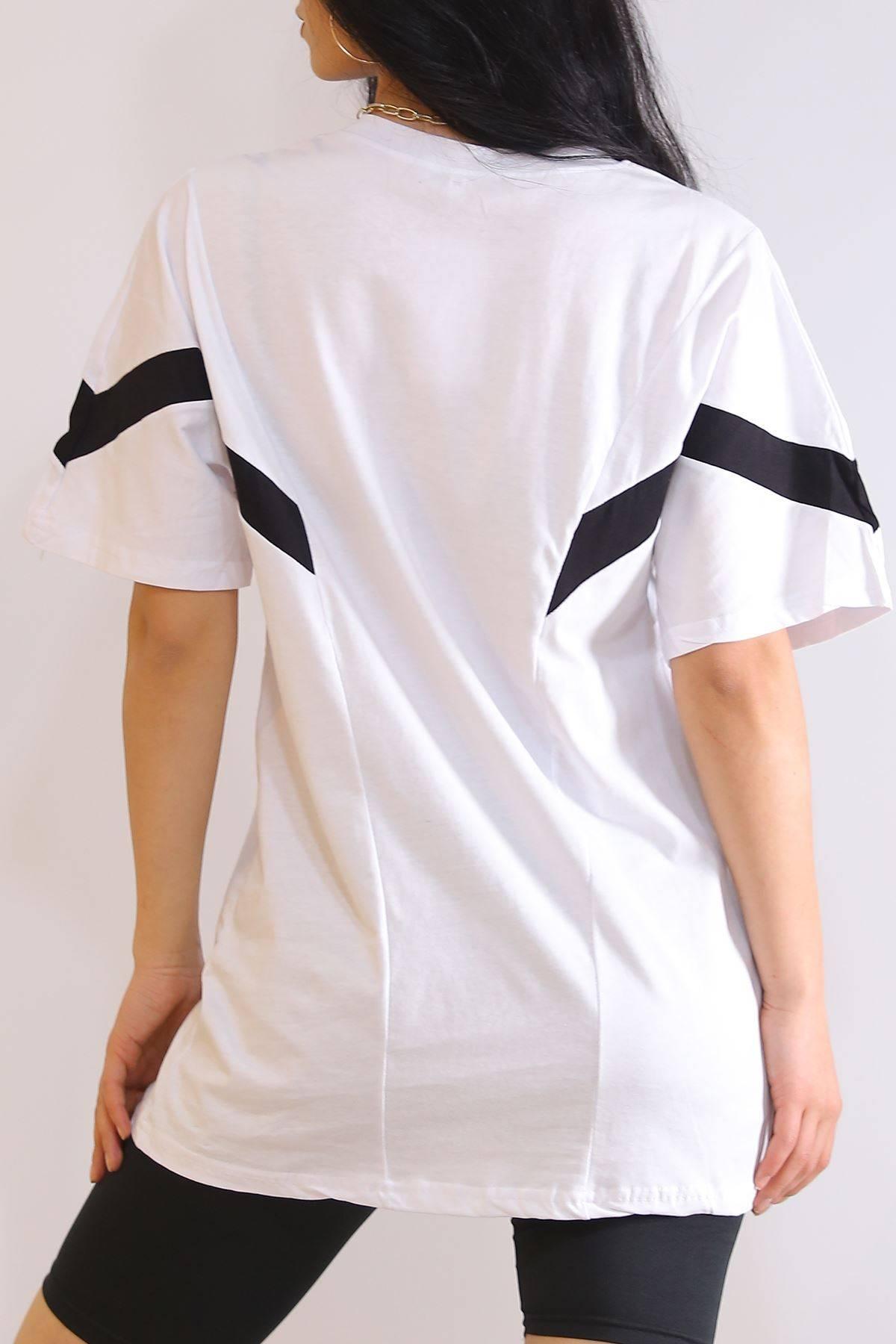 Parçalı Nakışlı Tişört Beyaz - 6184.1377.