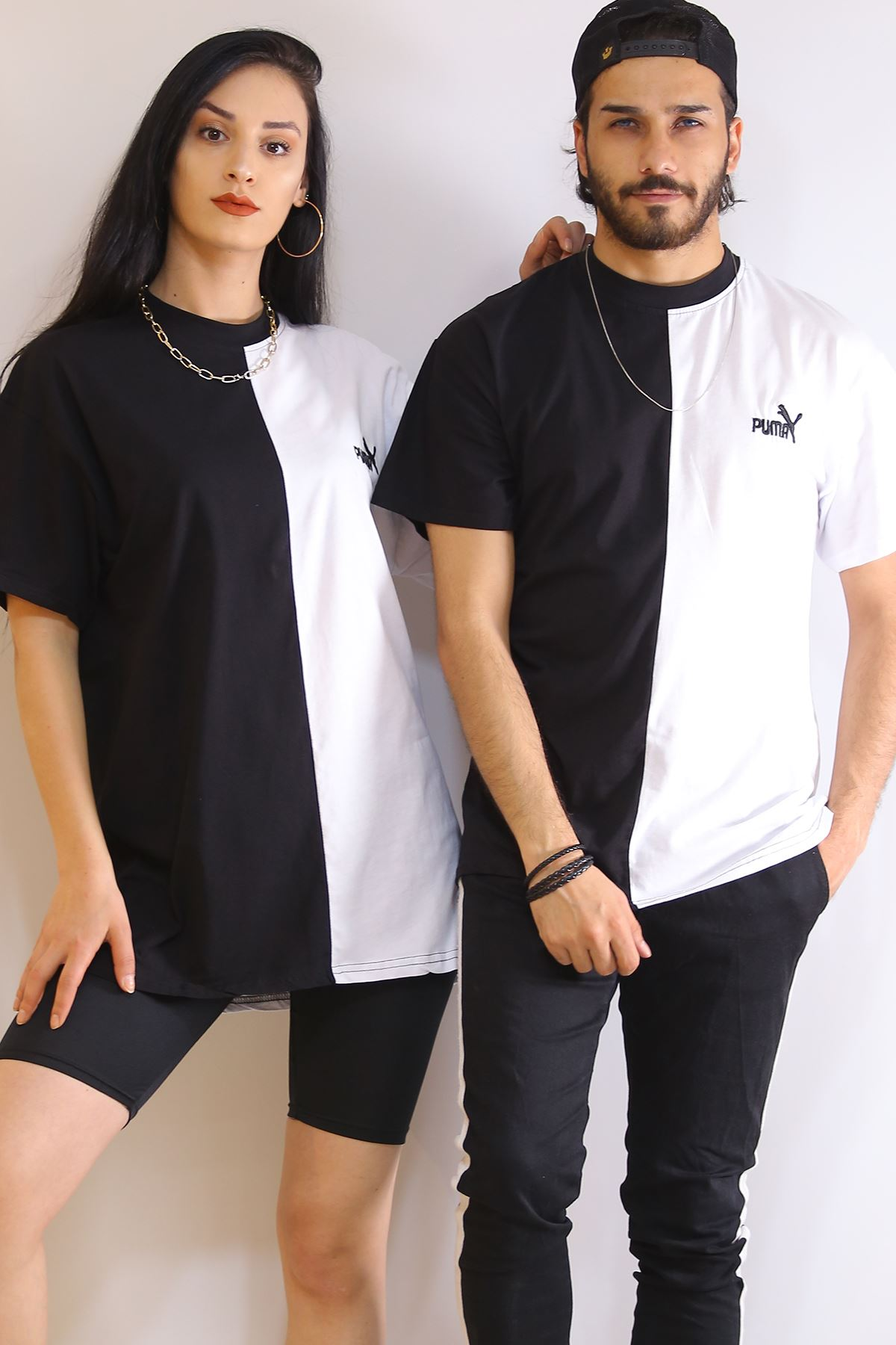Çift Renk Tişört Siyahbeyaz - 6200.1377.